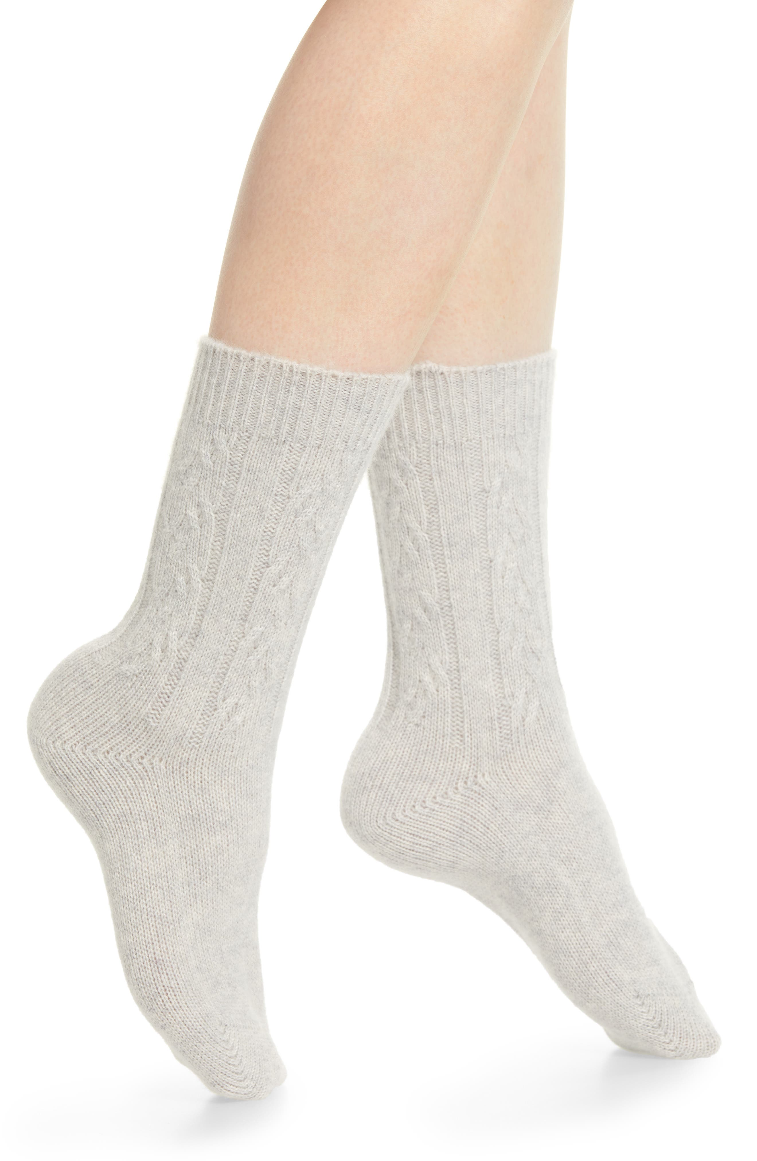 Cable Knit Cashmere Crew Socks,                             Main thumbnail 1, color,                             GREY HEATHER