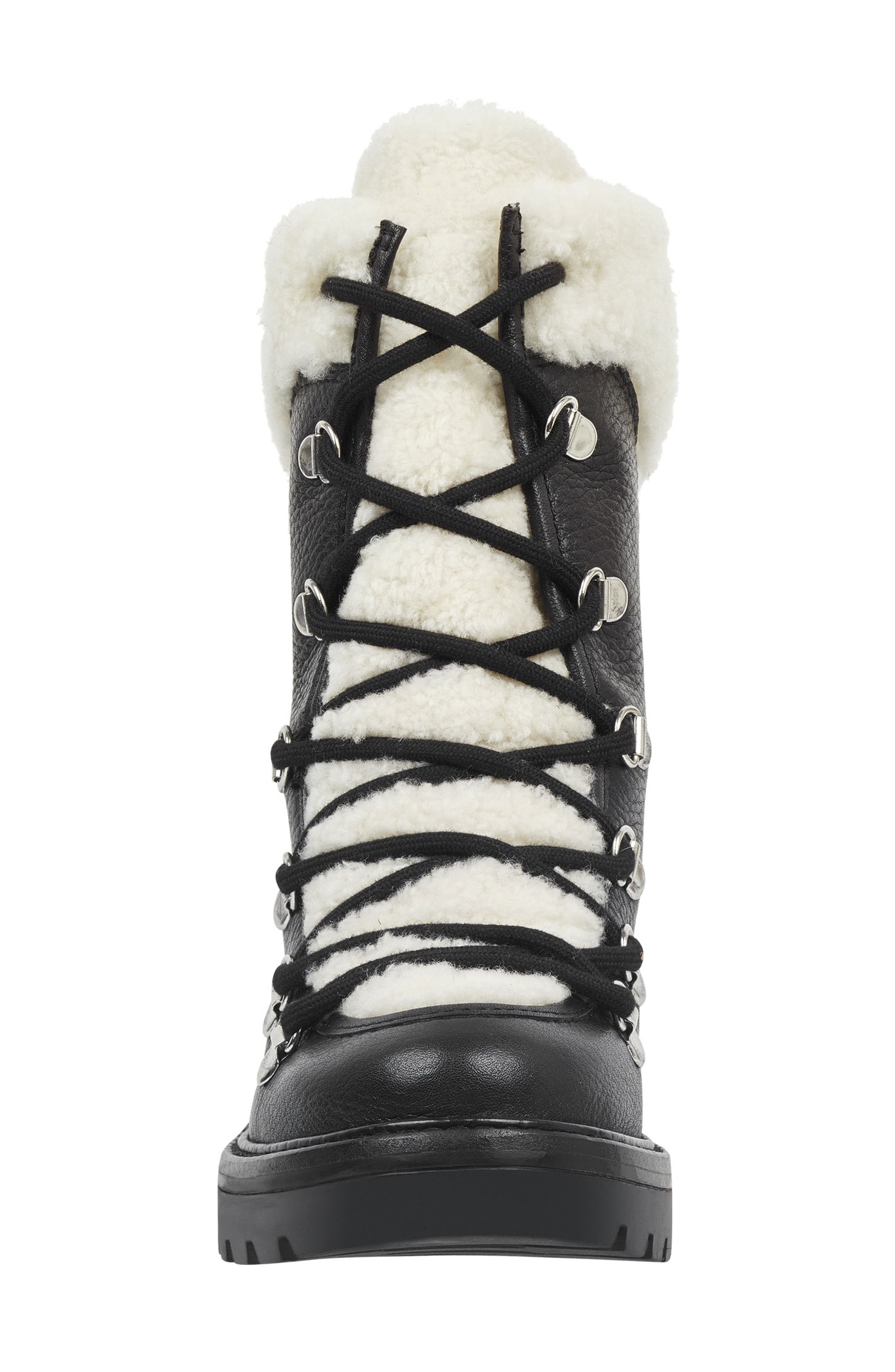 MARC FISHER LTD,                             Daven Genuine Shearling Lace Up Boot,                             Alternate thumbnail 4, color,                             BLACK LEATHER