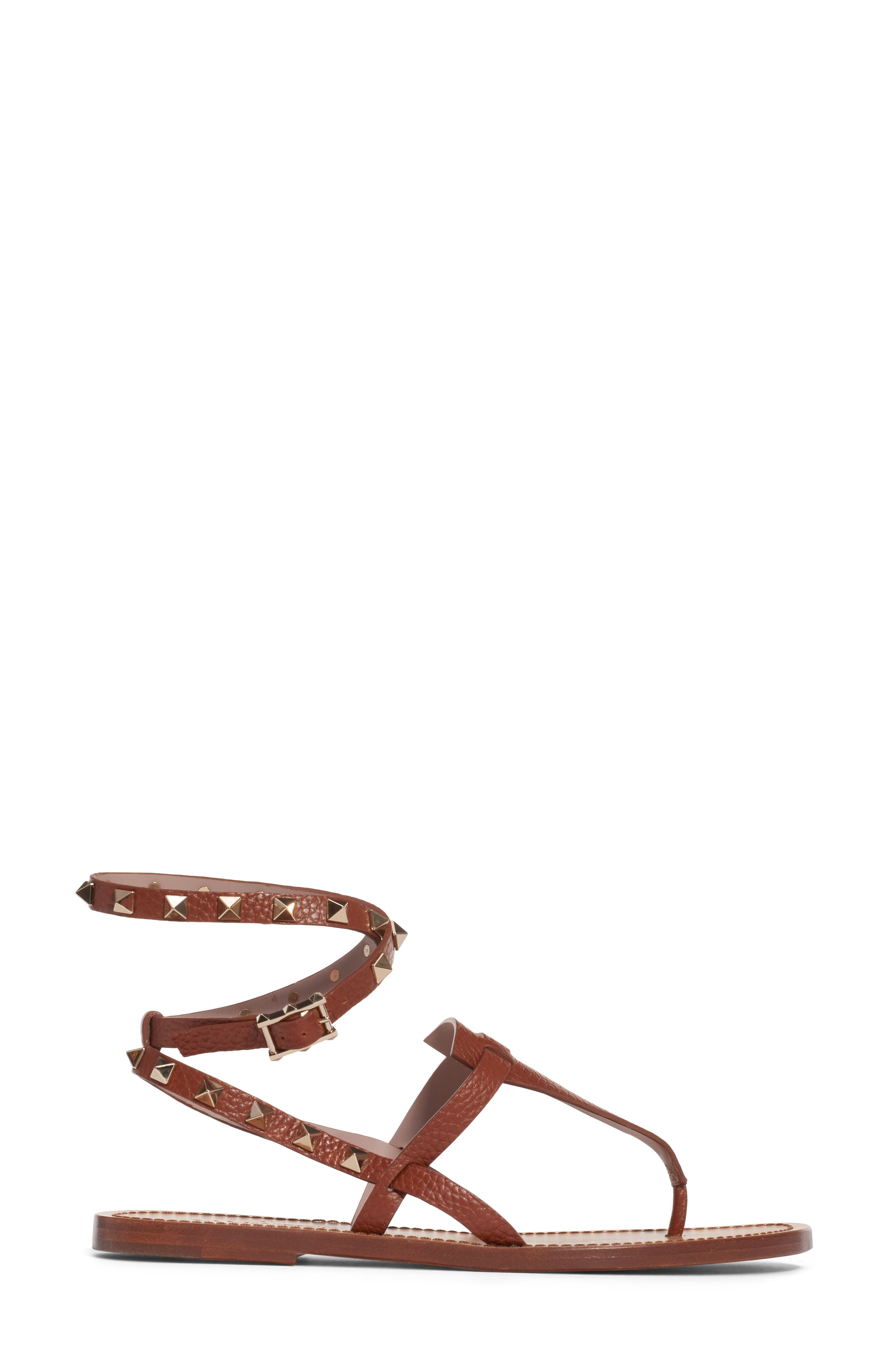 VALENTINO GARAVANI,                             Rockstud Ankle Wrap Sandal,                             Alternate thumbnail 3, color,                             COGNAC