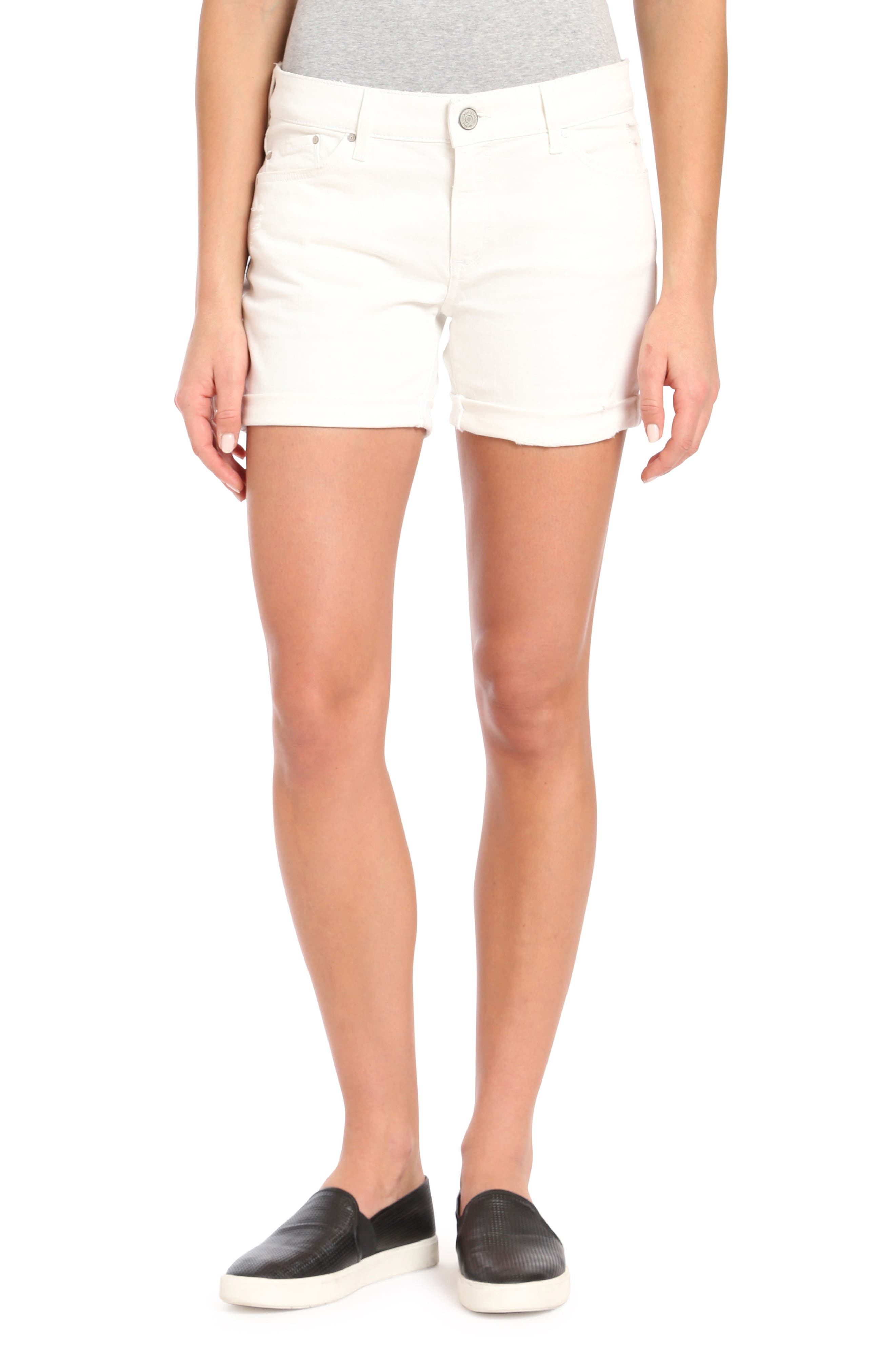 Pixie Ripped Denim Shorts,                         Main,                         color, WHITE RIPPED NOLITA