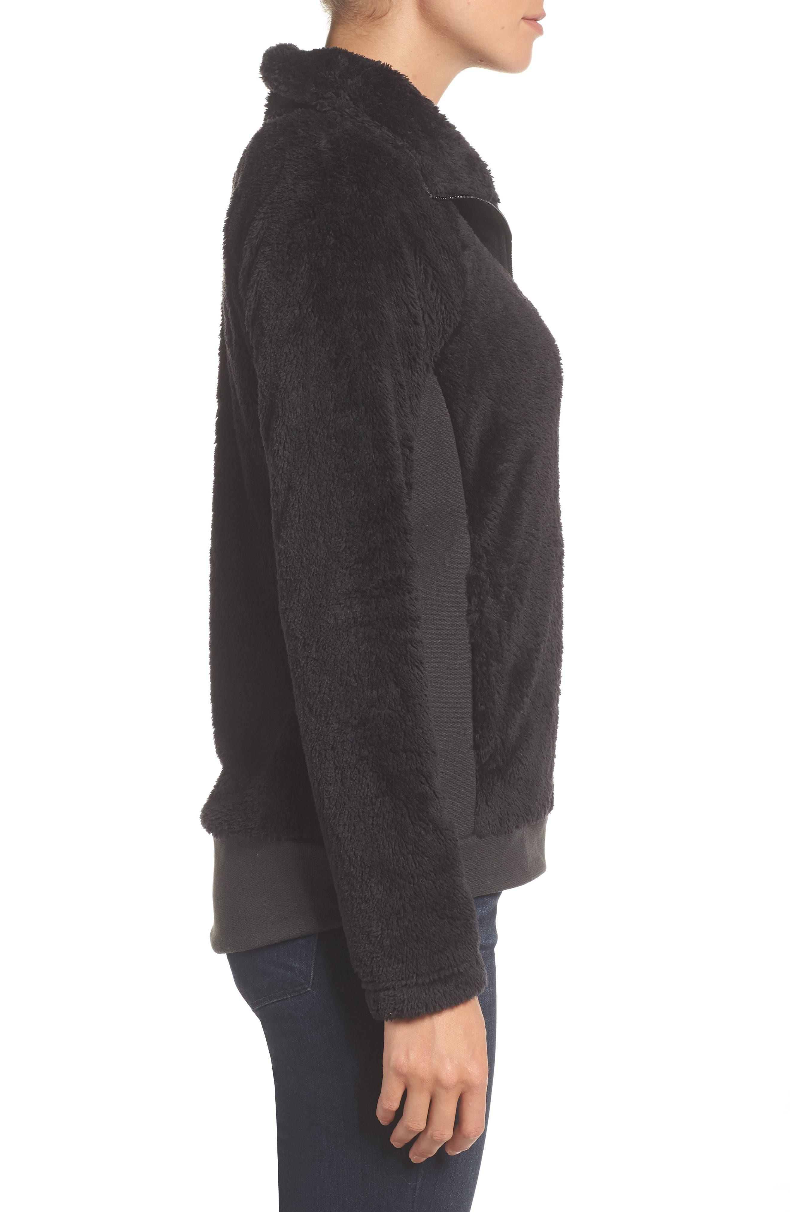 Furry Fleece Jacket,                             Alternate thumbnail 3, color,                             TNF BLACK