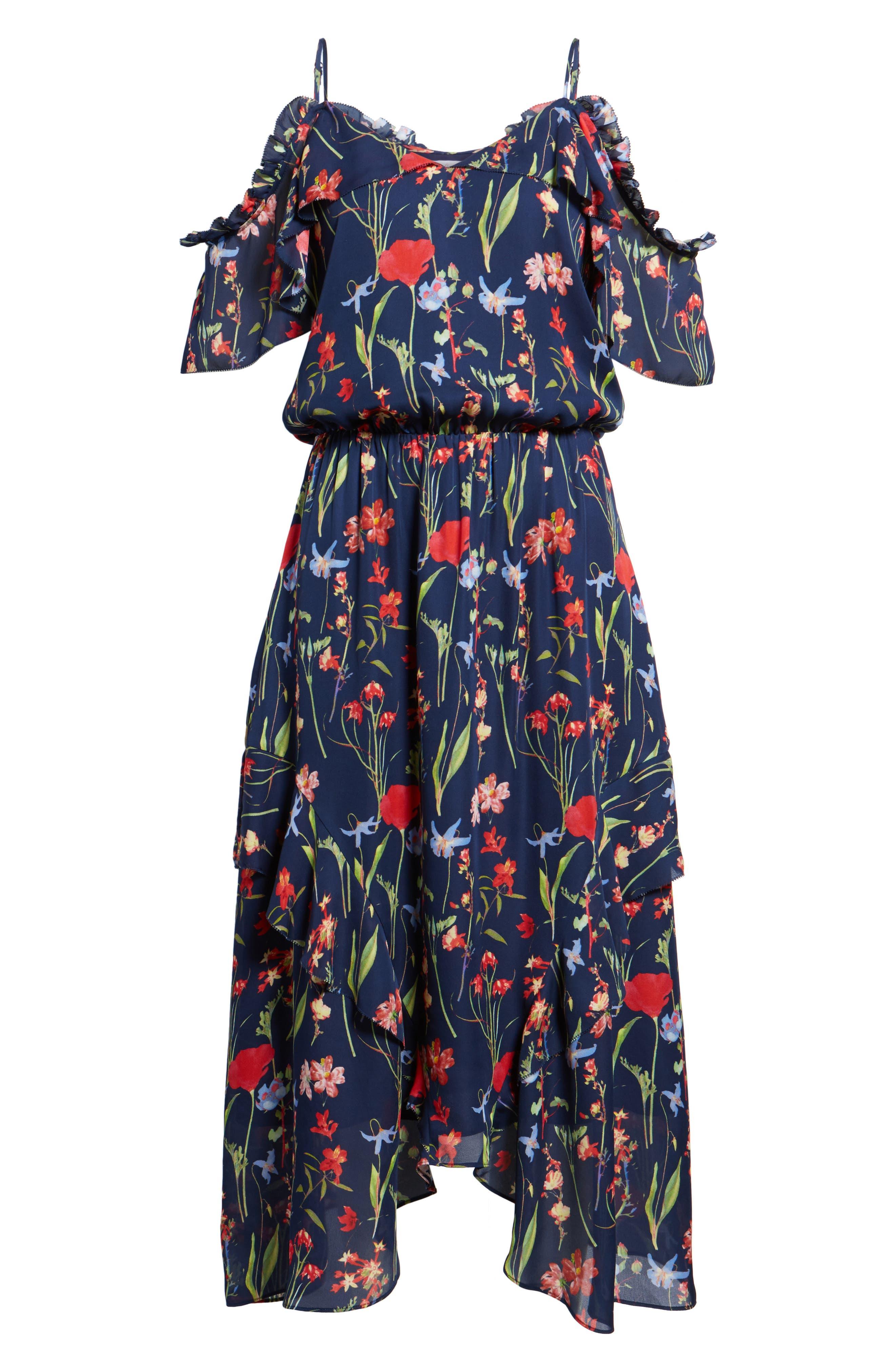 Kam Cold Shoulder Silk Dress,                             Alternate thumbnail 6, color,                             416