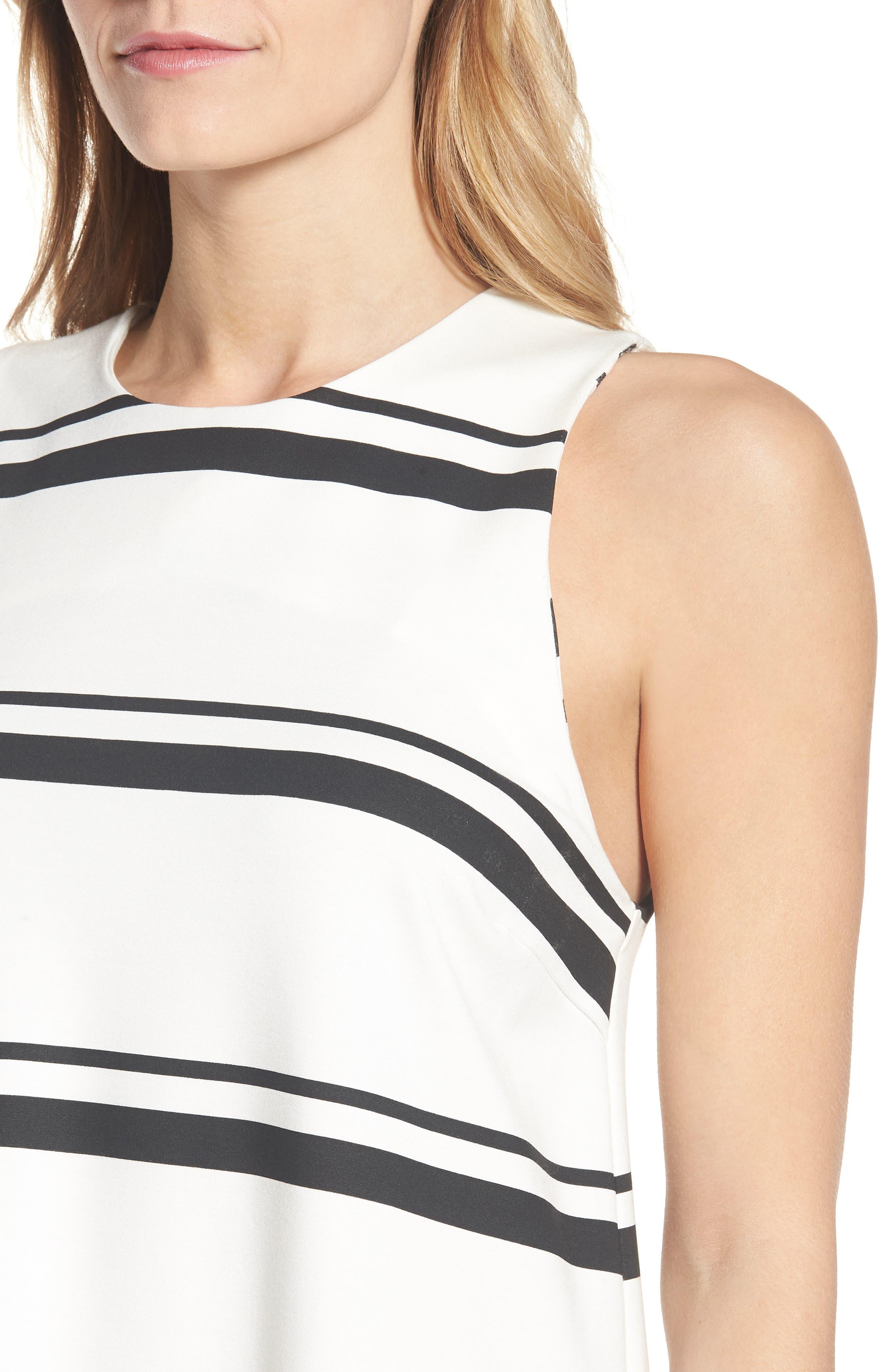 Stripe Swing Dress,                             Alternate thumbnail 4, color,                             001