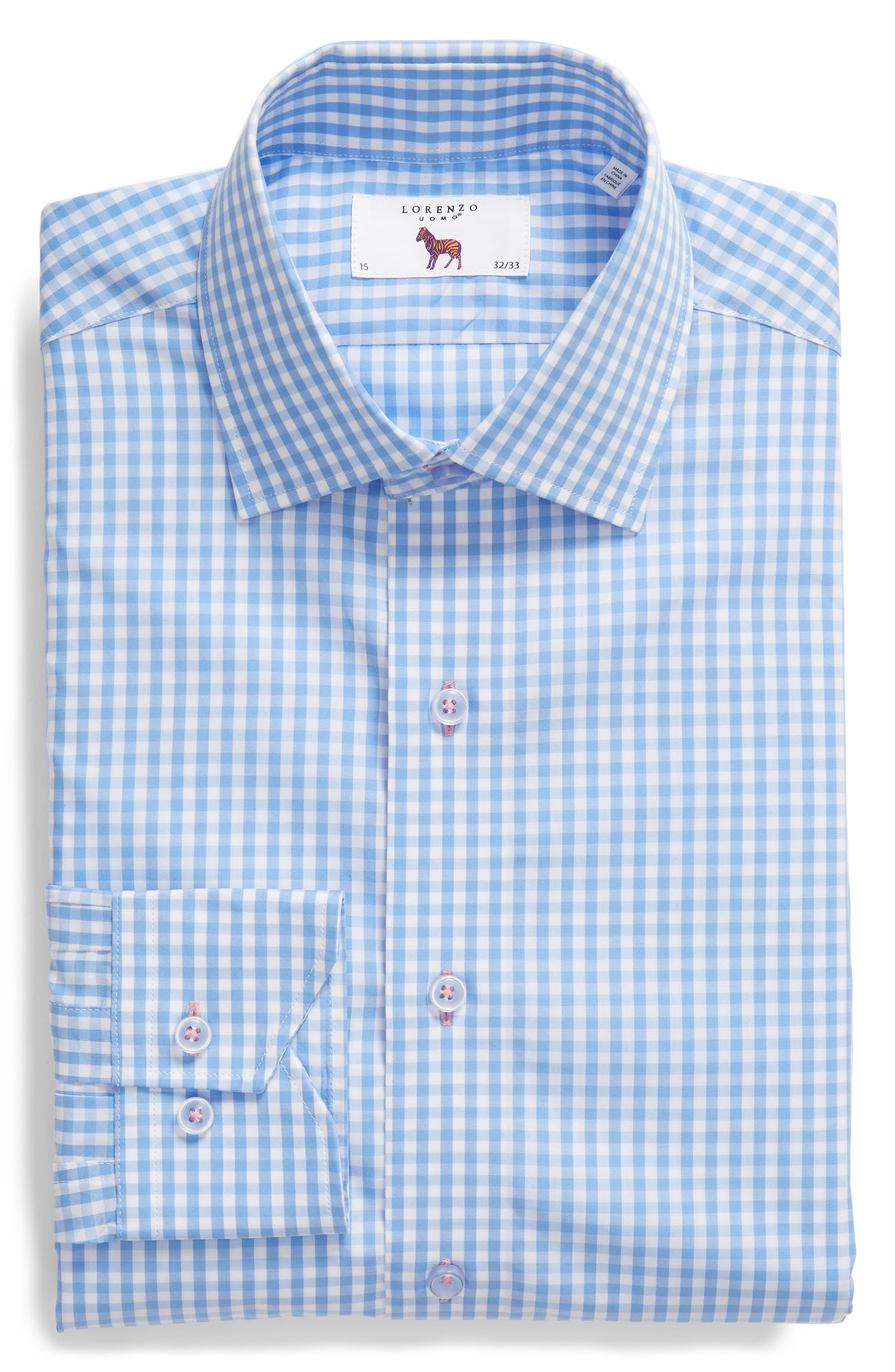 Trim Fit Check Dress Shirt,                             Alternate thumbnail 5, color,                             LIGHT BLUE