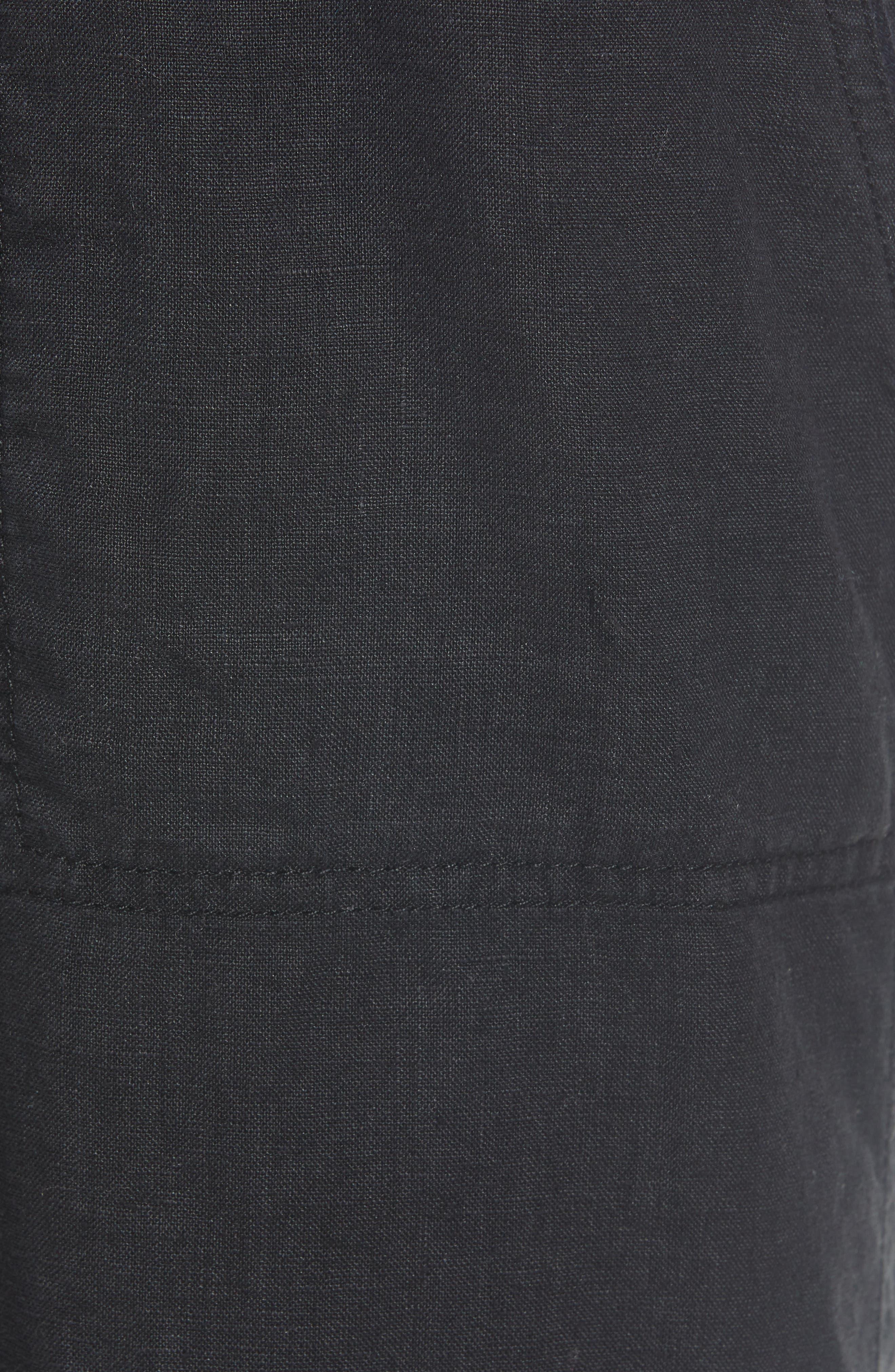 Linen Pants,                             Alternate thumbnail 6, color,                             BLACK