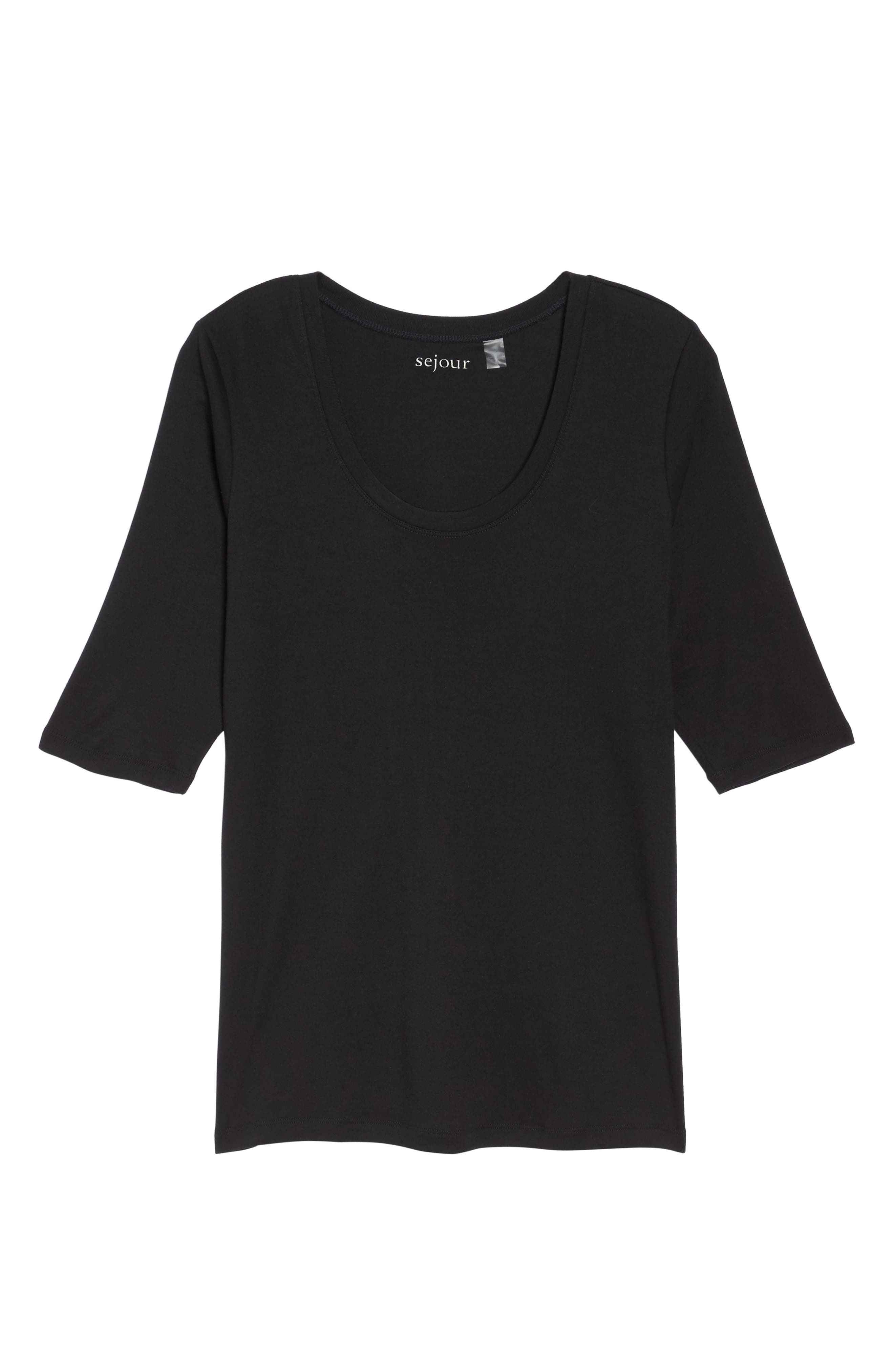 Elbow Sleeve Scoop Neck Tee,                             Alternate thumbnail 2, color,                             001