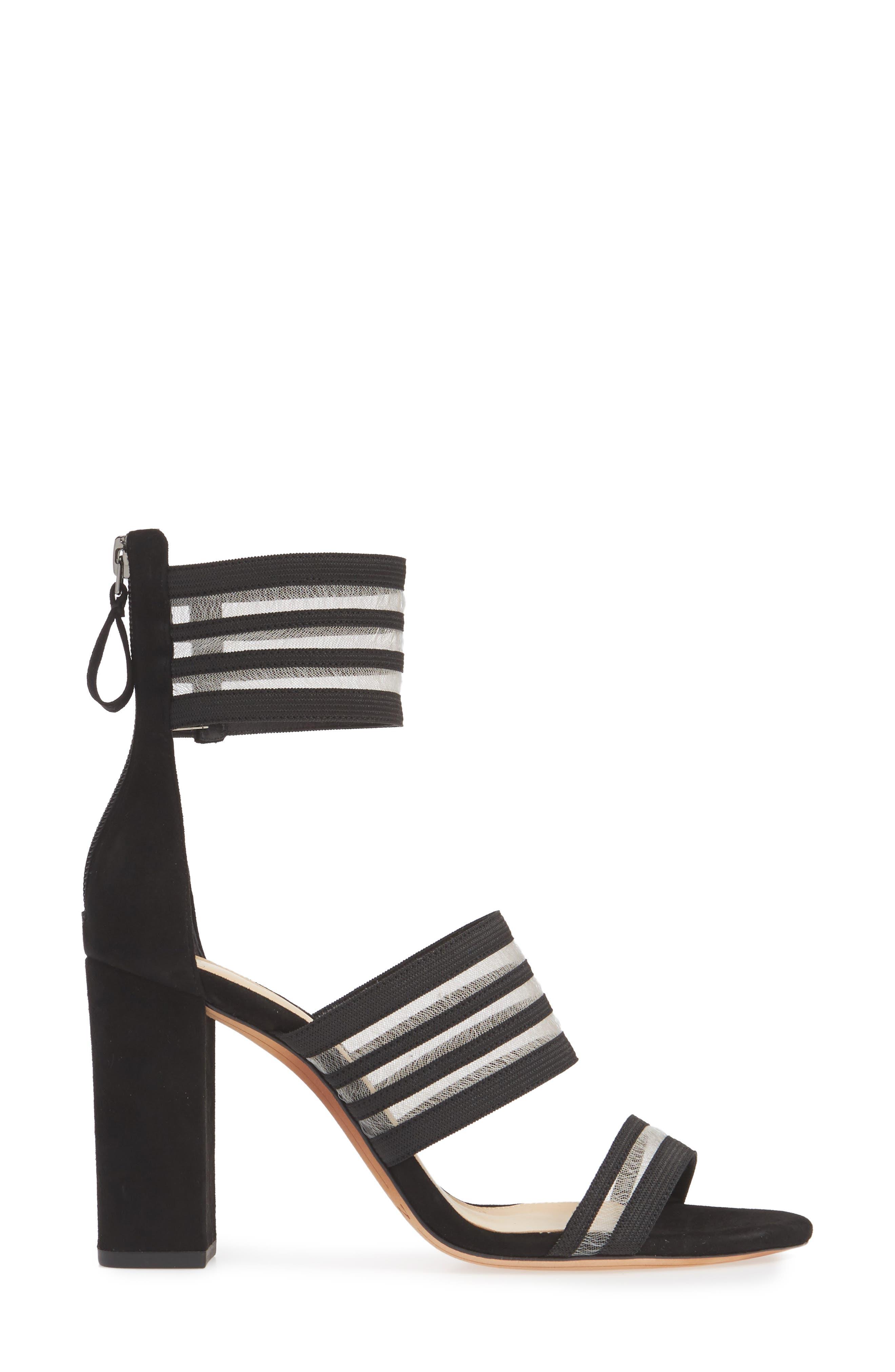 Shadow Ankle Strap Sandal,                             Alternate thumbnail 3, color,                             BLACK
