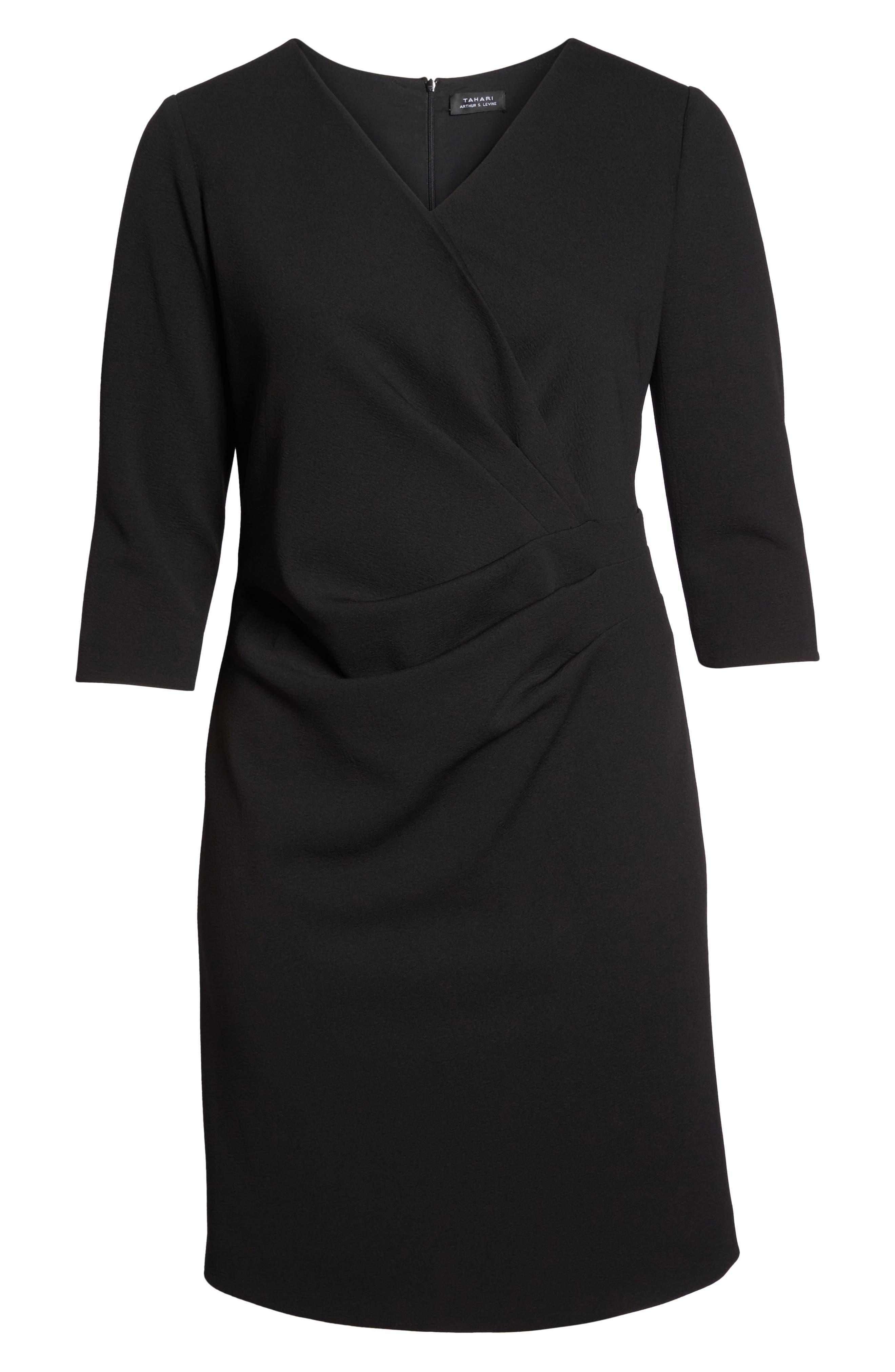 Ruched Surplice Crepe Sheath Dress,                             Alternate thumbnail 7, color,                             BLACK