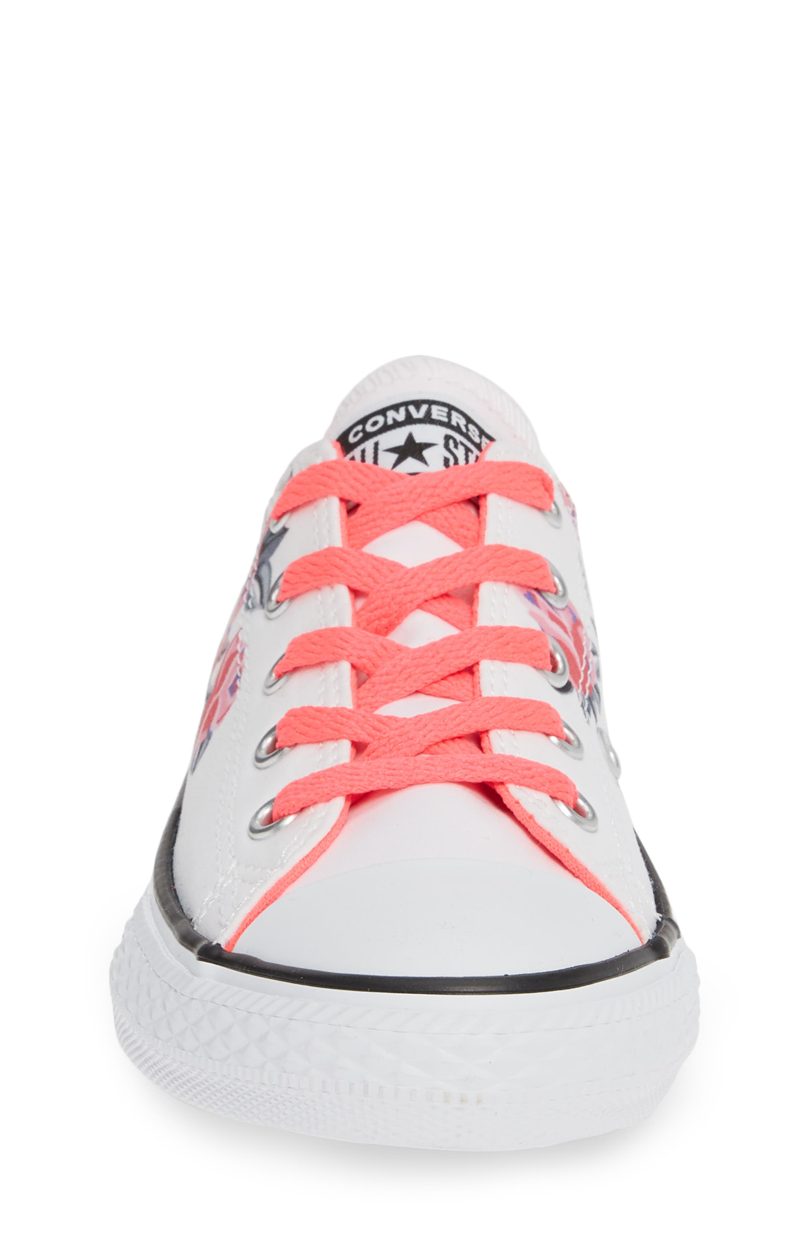 Chuck Taylor<sup>®</sup> All Star<sup>®</sup> Low Top Sneaker,                             Alternate thumbnail 4, color,                             WHITE/ RACER PINK/ BLACK