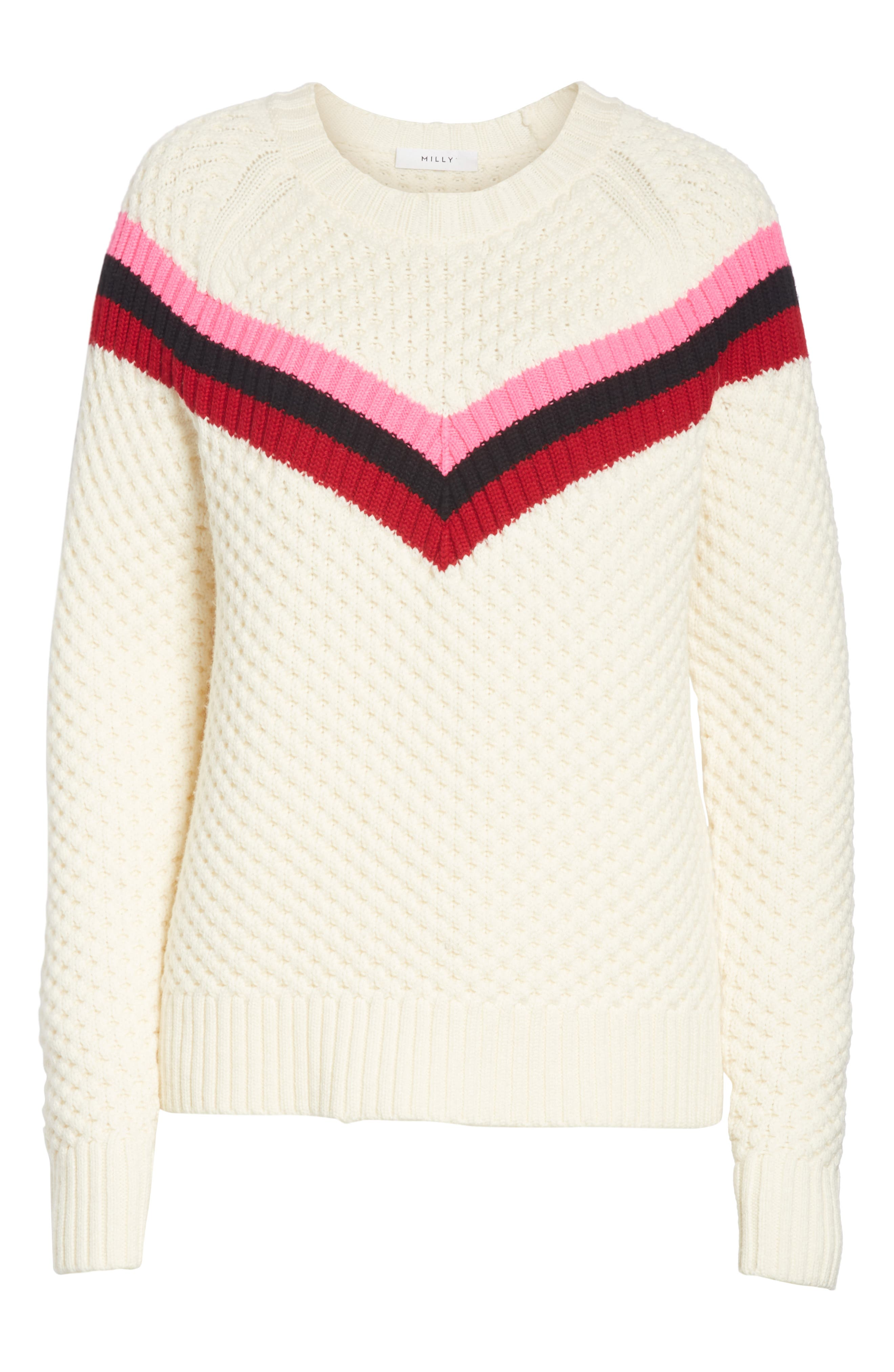Varsity Stripe Popcorn Stitch Wool Blend Sweater,                             Alternate thumbnail 6, color,                             WHITE MULTI