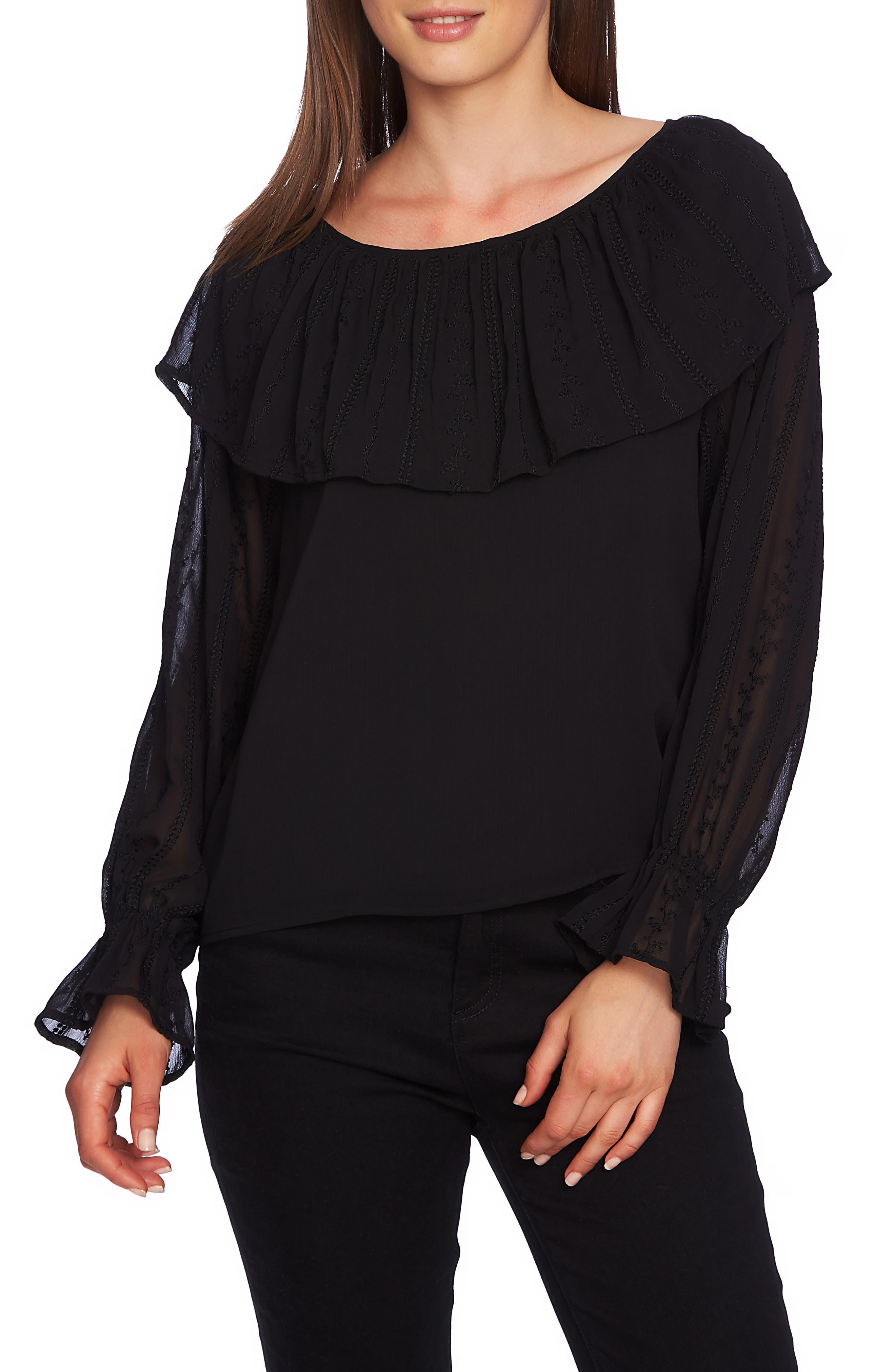 Embroidered Overlay Blouse, Main, color, 001