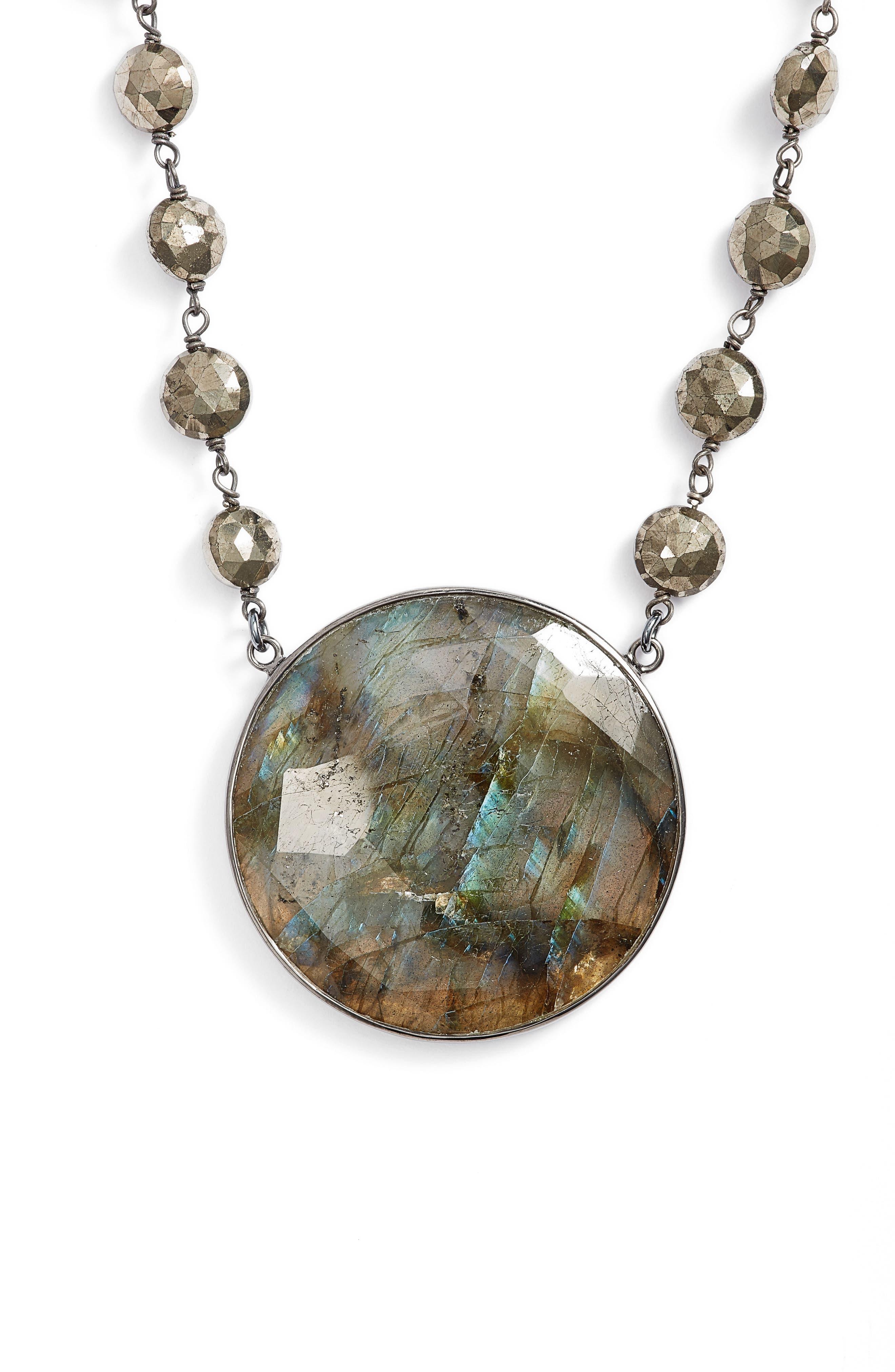 Morah Semiprecious Stone Necklace,                             Main thumbnail 1, color,                             PYRITE/ LABRADORITE