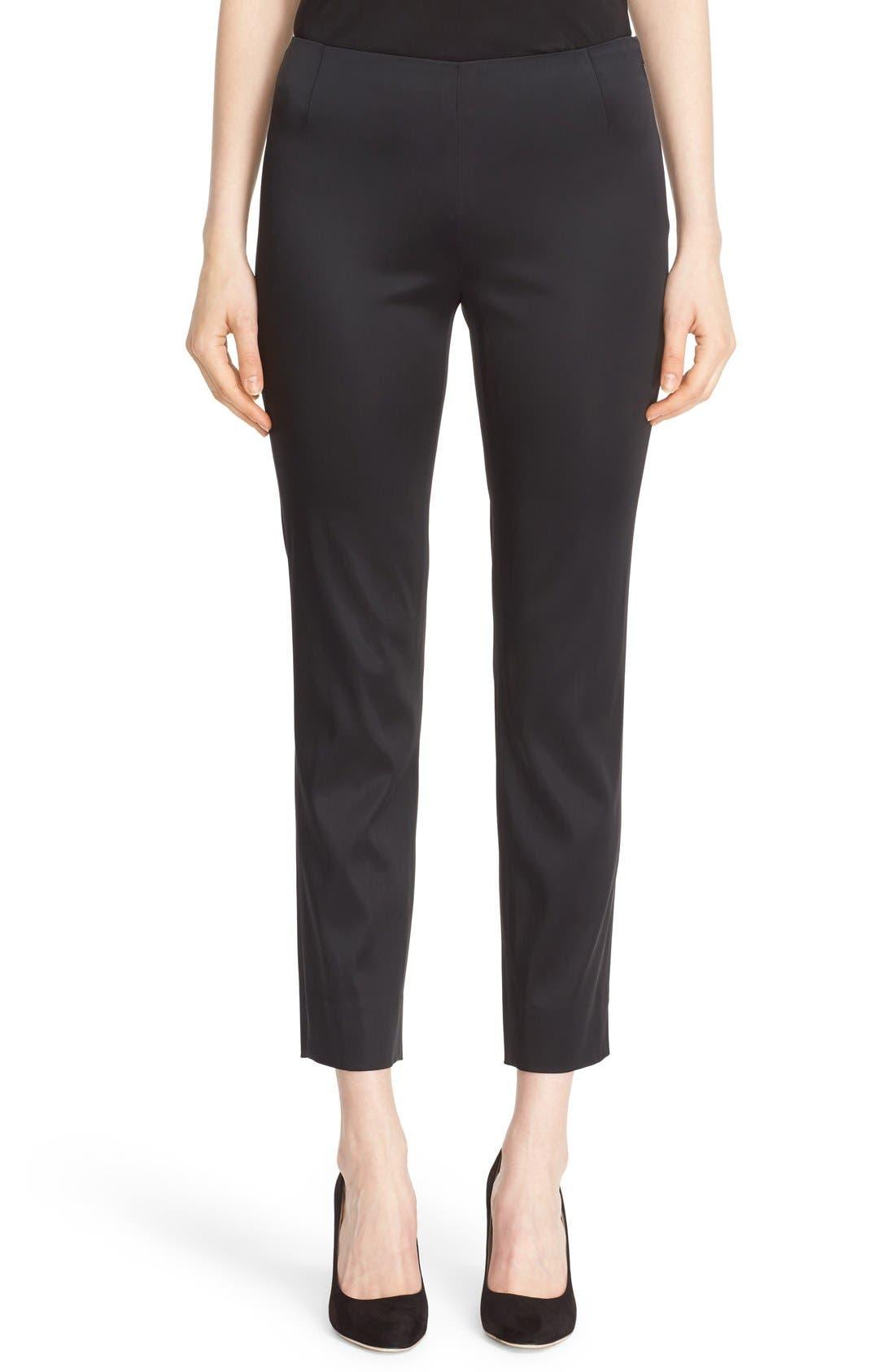 'Stanton - Belle Satin' Pants,                             Main thumbnail 1, color,                             BLACK