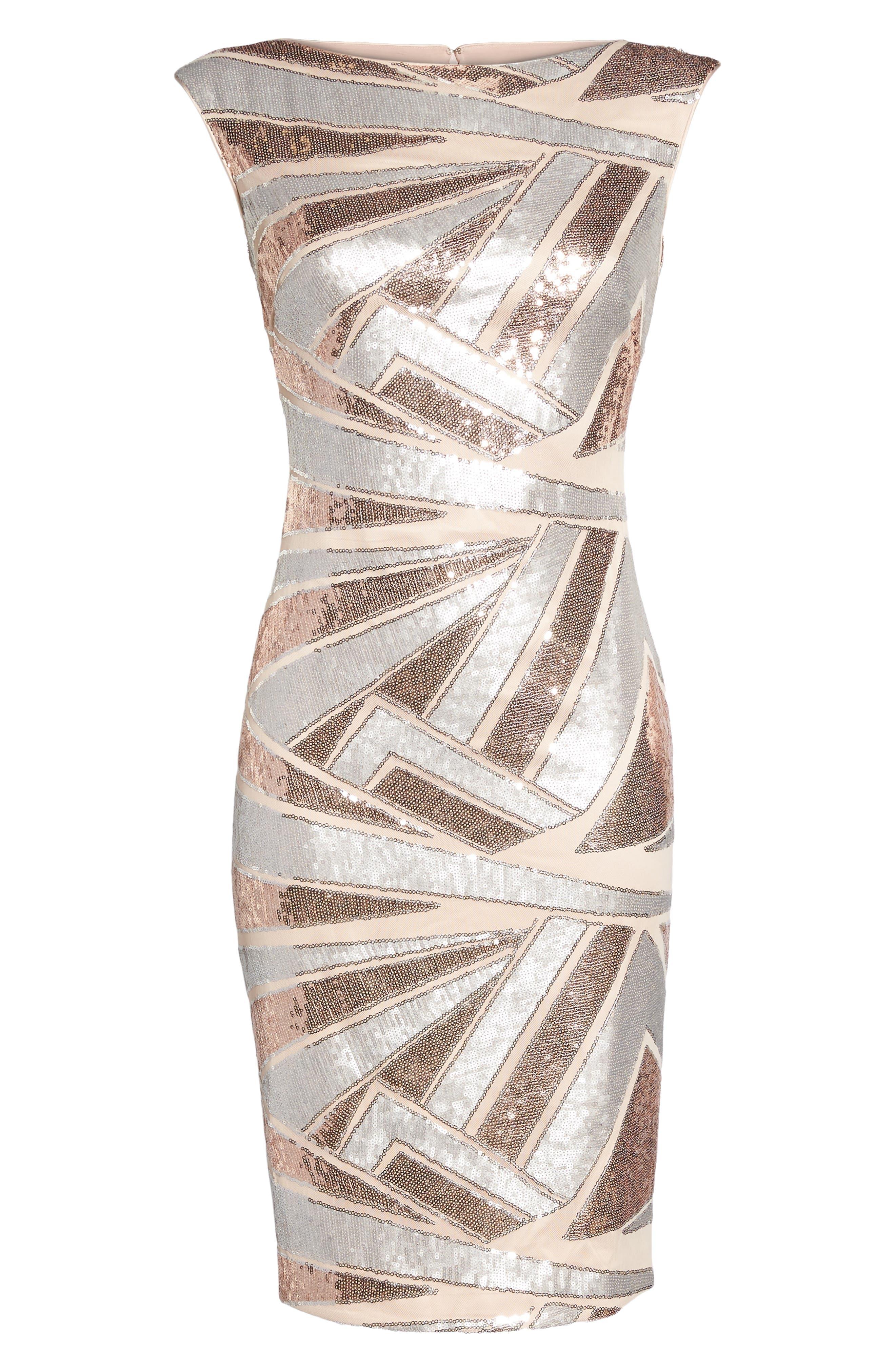 Sequin Body-Con Dress,                             Alternate thumbnail 6, color,