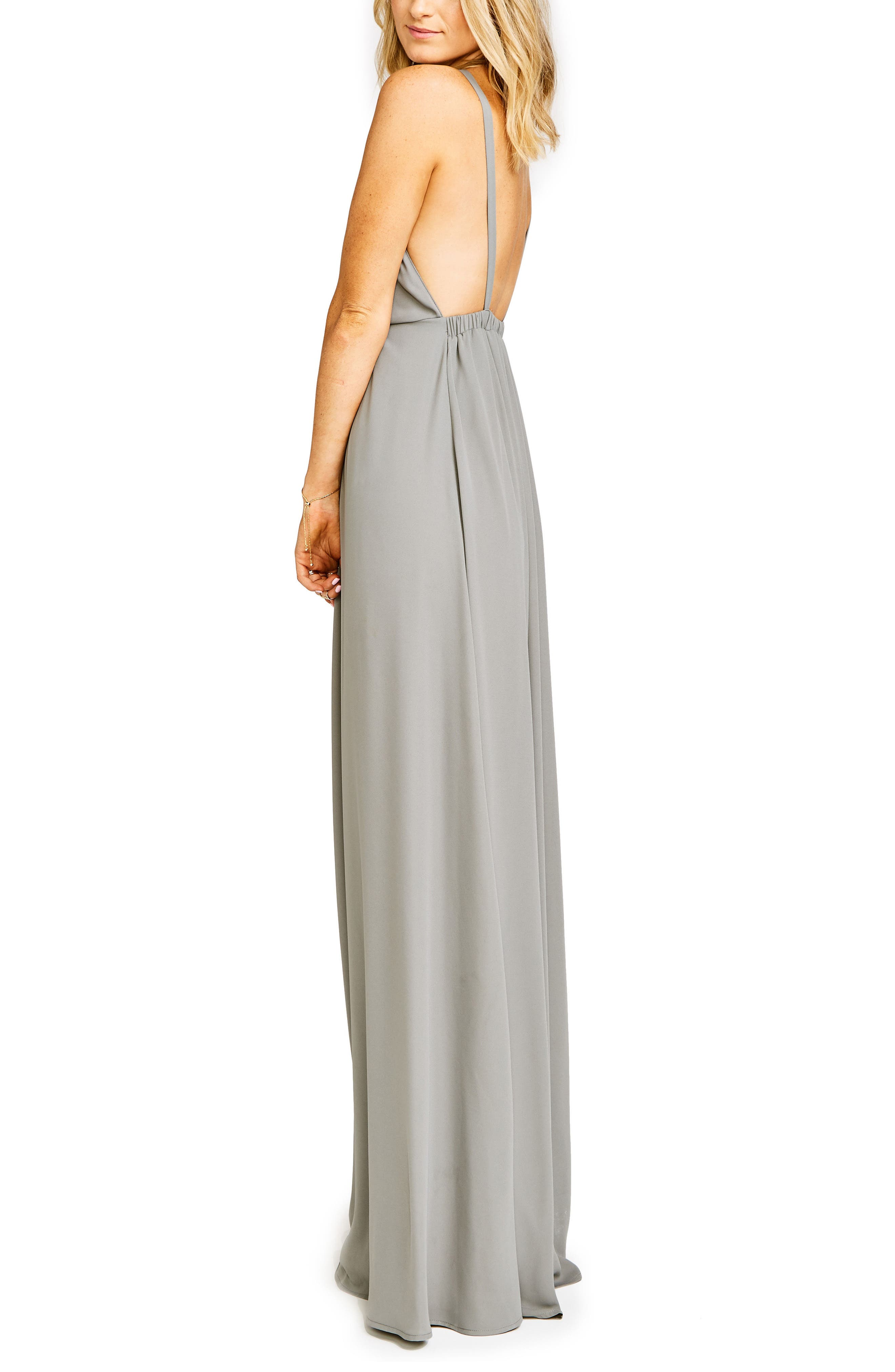 Amanda Open Back Blouson Gown,                             Alternate thumbnail 19, color,