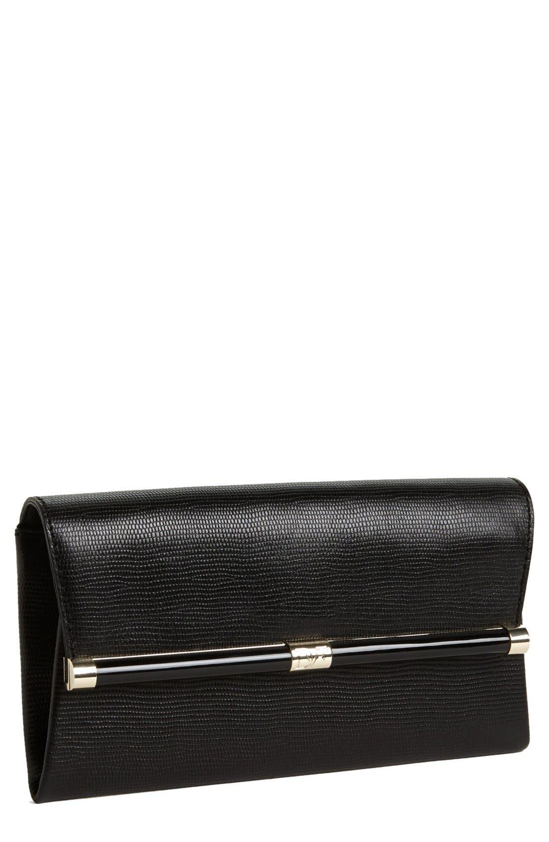 '440' Leather Envelope Clutch,                             Main thumbnail 1, color,                             002