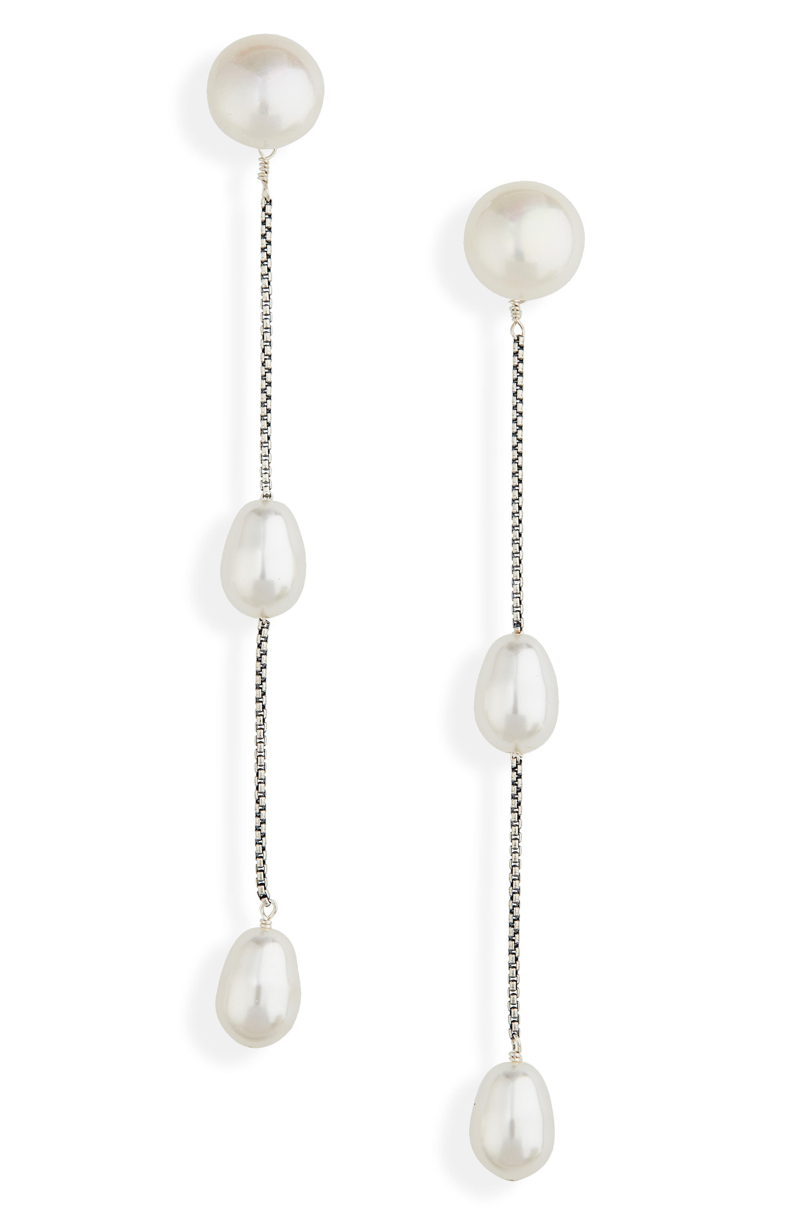 Imitation Pearl Linear Drop Earrings,                             Main thumbnail 1, color,                             STERLING SILVER/ FAUX PEARL