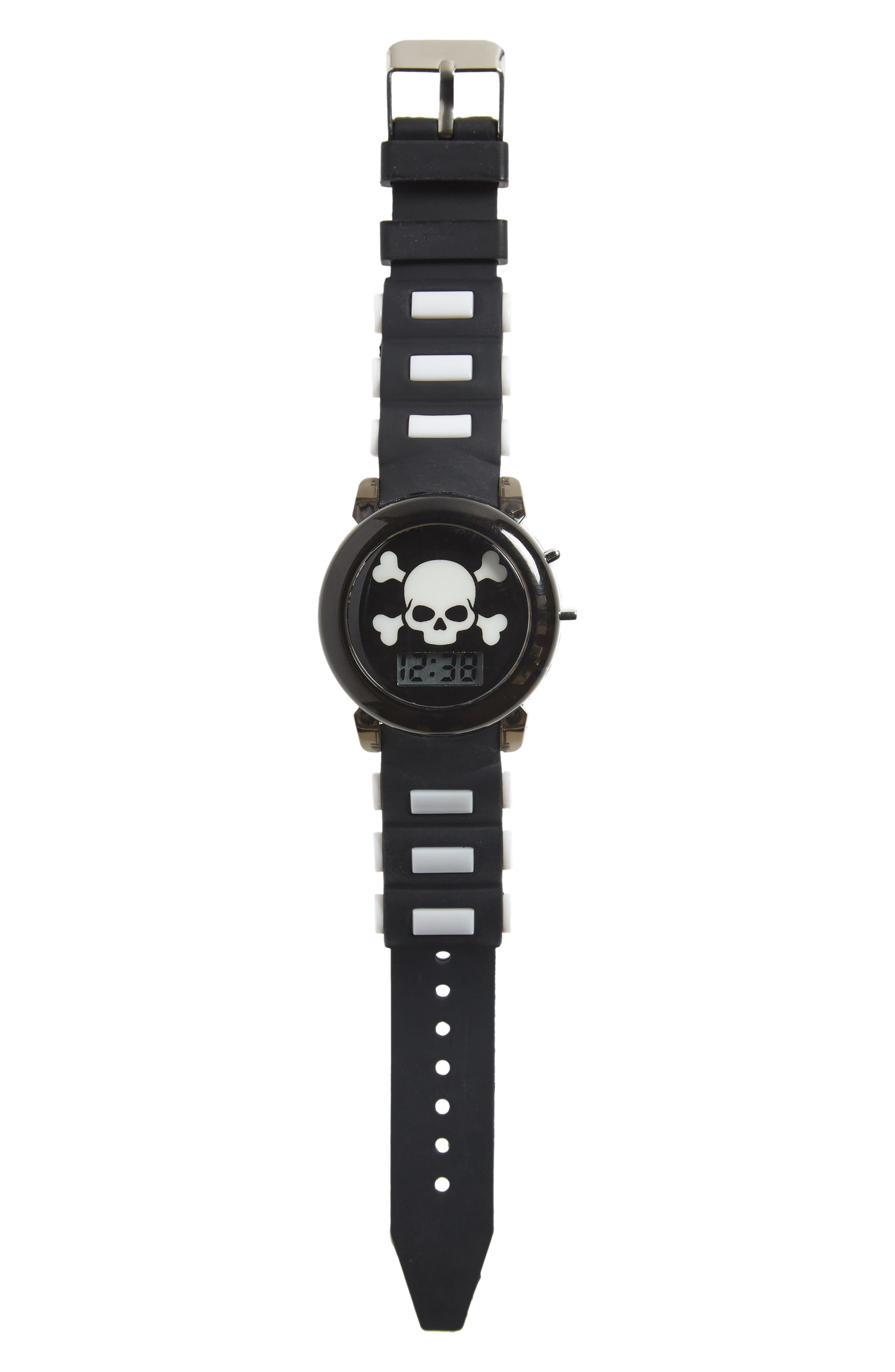 Boys Accutime Pirate Light Up Rubber Strap Watch