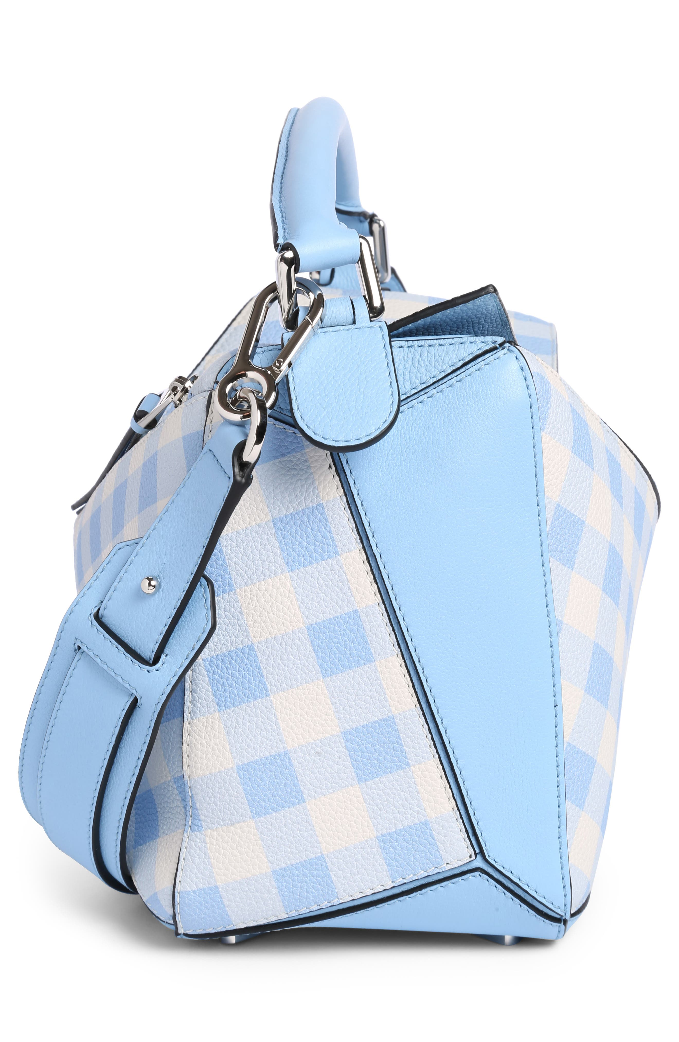 Puzzle Gingham Calfskin Leather Bag,                             Alternate thumbnail 3, color,                             455