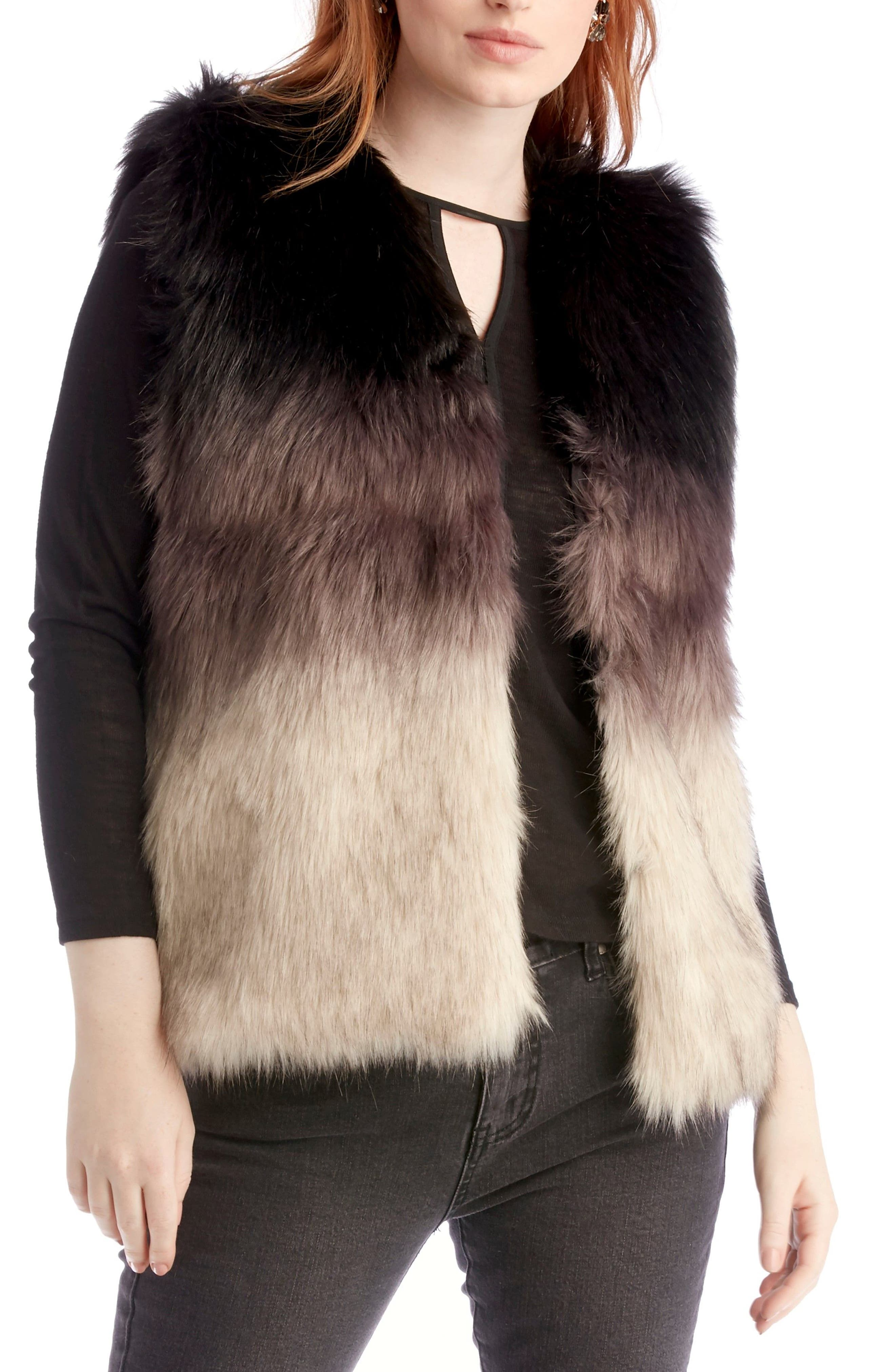 Ombré Faux Fur Vest,                             Main thumbnail 1, color,                             001