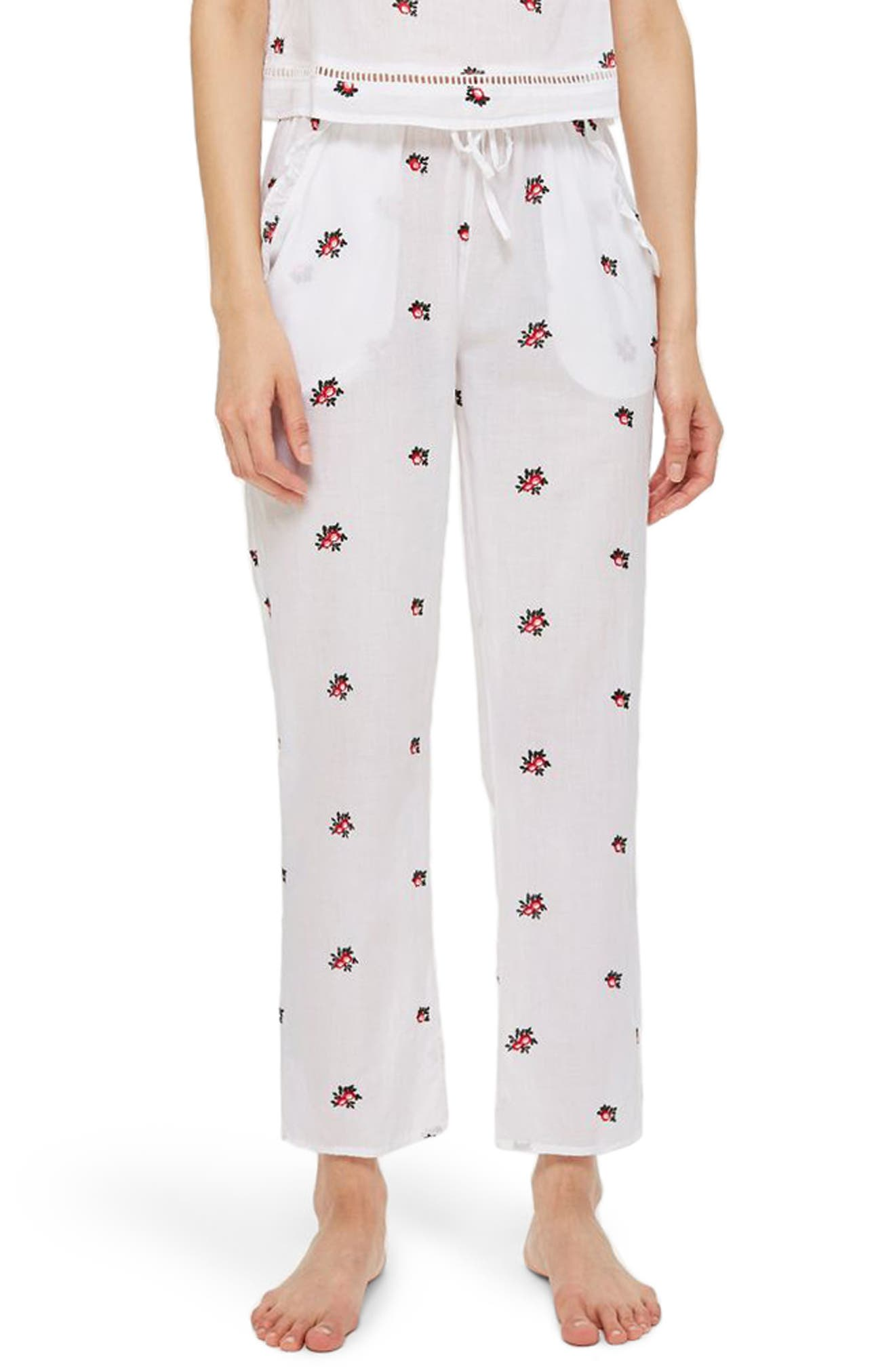 TOPSHOP,                             Embroidered Floral Ankle Pajama Pants,                             Main thumbnail 1, color,                             100