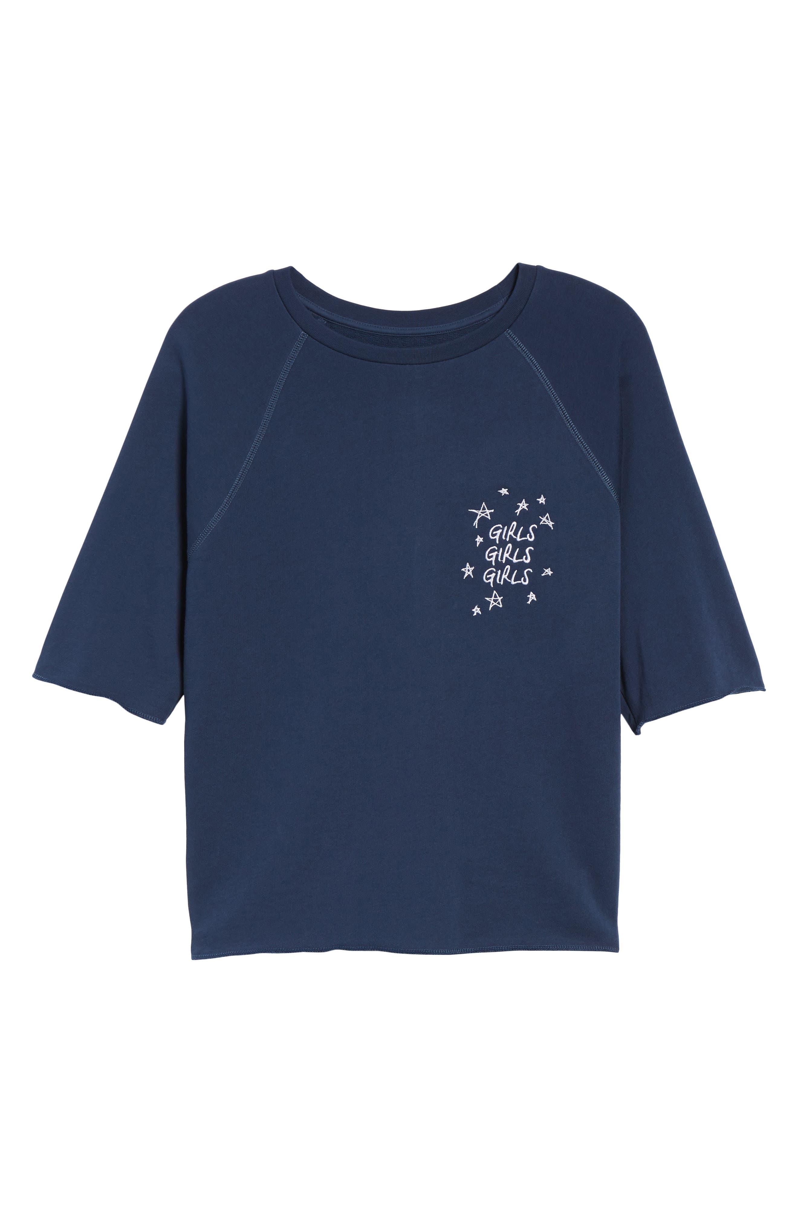 Girls Girls Girls Embroidered Sweatshirt,                             Alternate thumbnail 6, color,                             NAVY