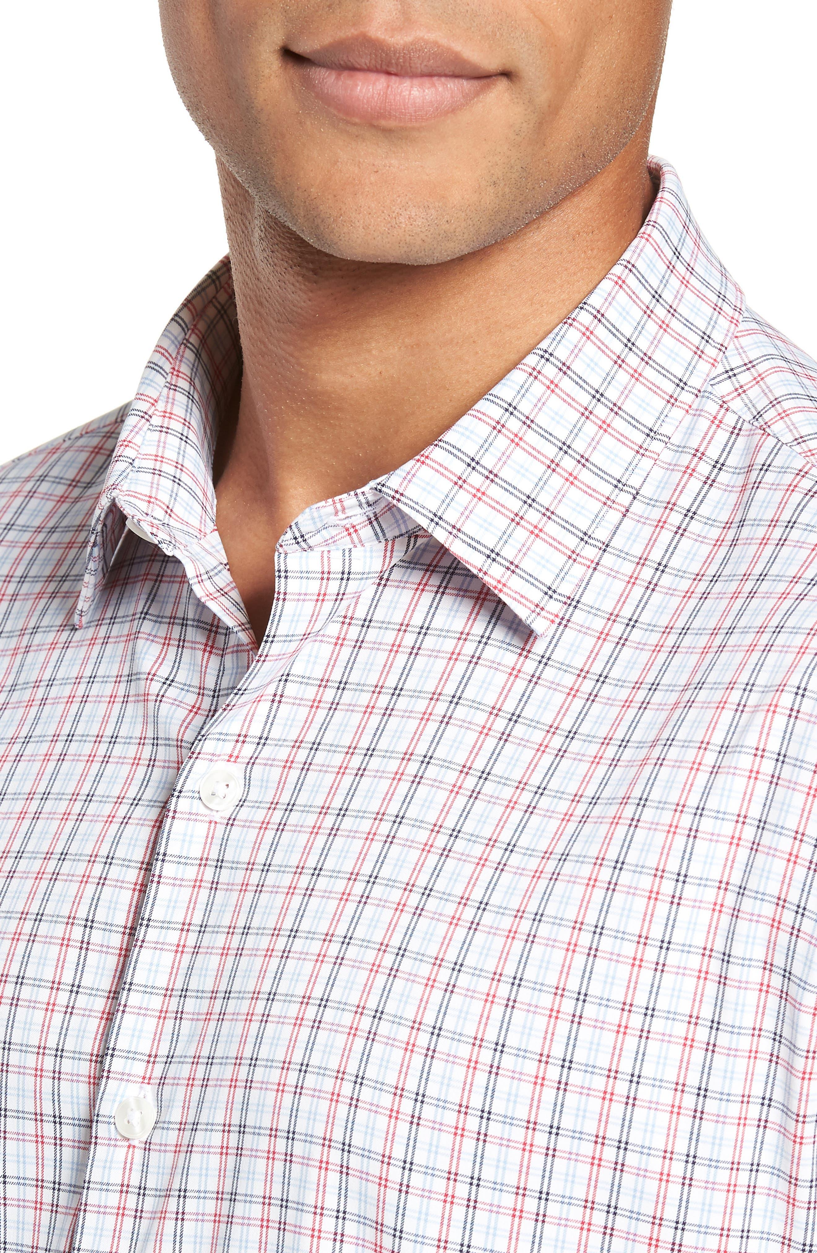 Slim Fit Check Performance Sport Shirt,                             Alternate thumbnail 2, color,                             HILLGROVE CHECK - CERISE