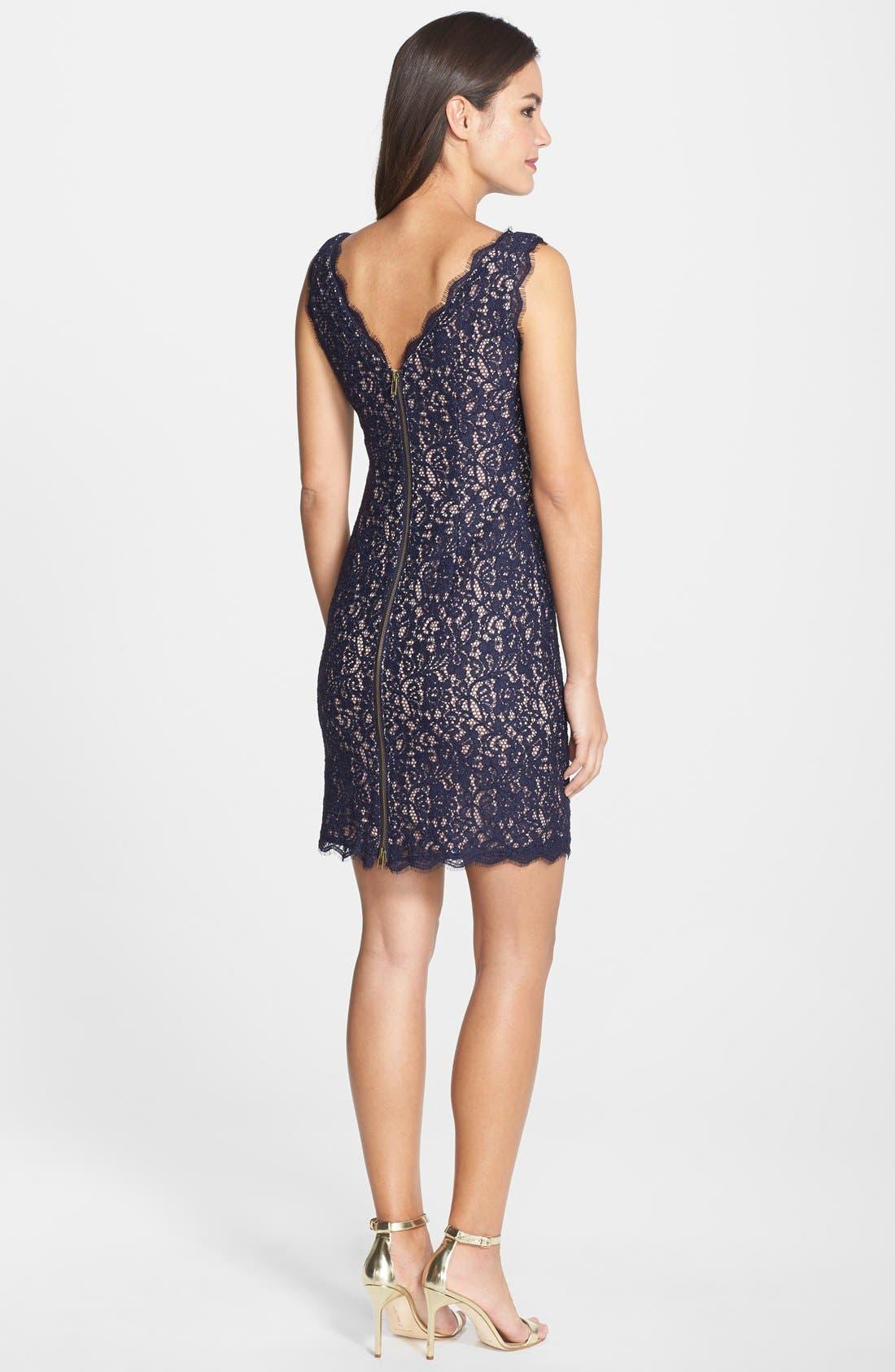 Boatneck Lace Sheath Dress,                             Alternate thumbnail 124, color,