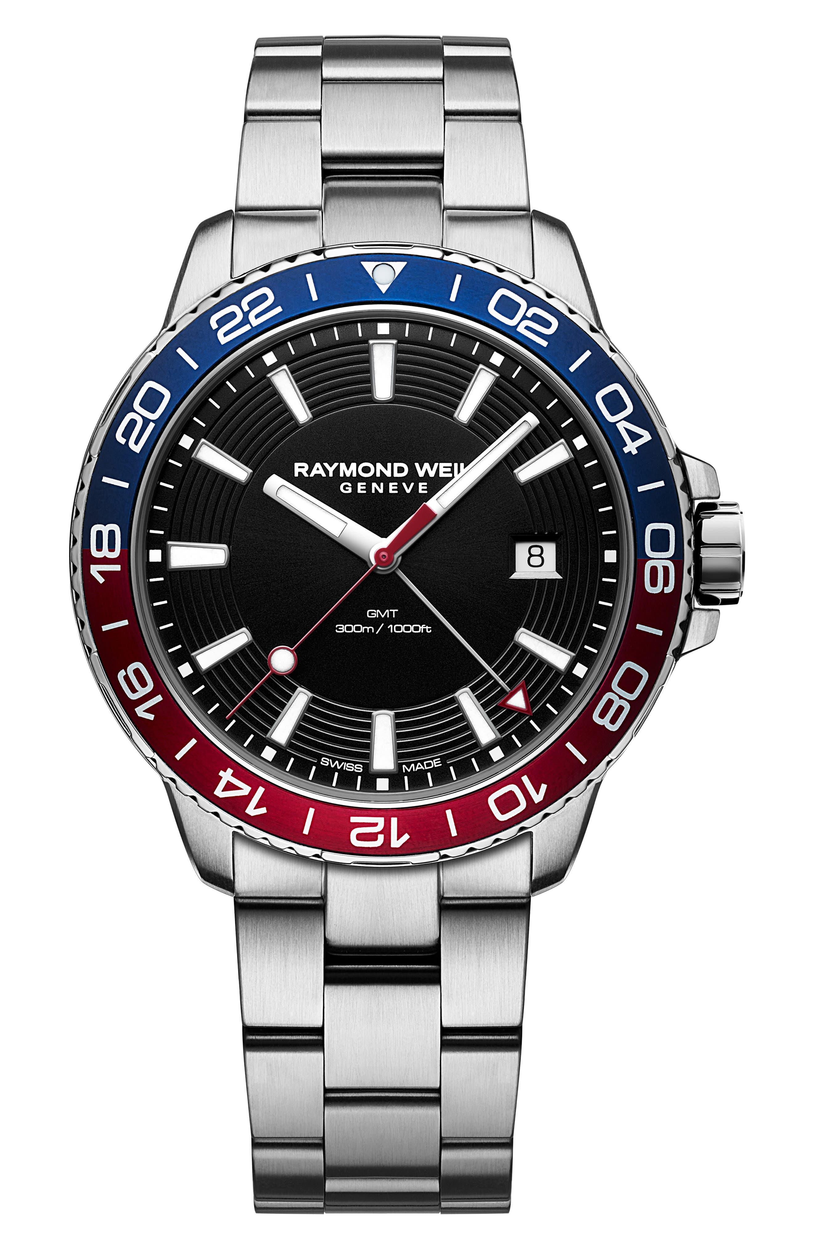 Tango Diving Chronograph Automatic Bracelet Watch, 42mm,                             Main thumbnail 1, color,                             SILVER/ BLACK/ BLUE