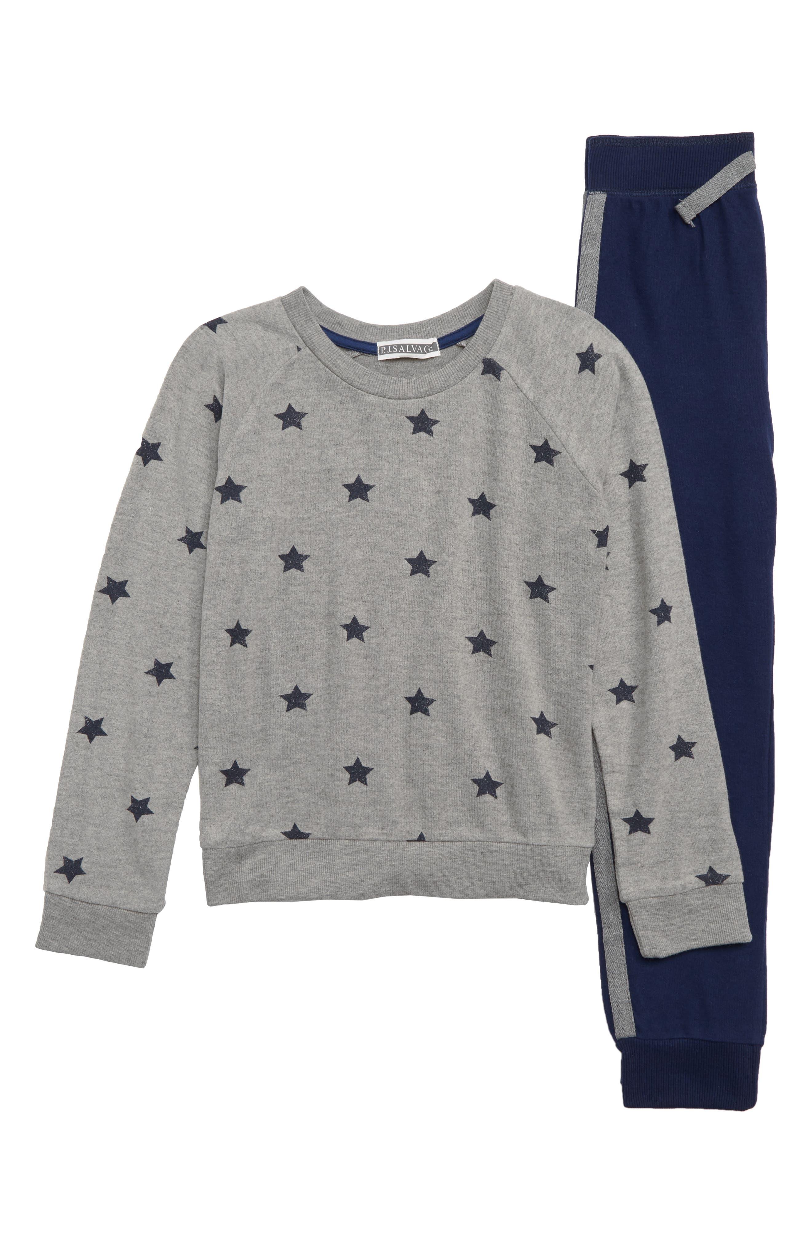 PJ SALVAGE Super Star Two-Piece Pajamas, Main, color, 401