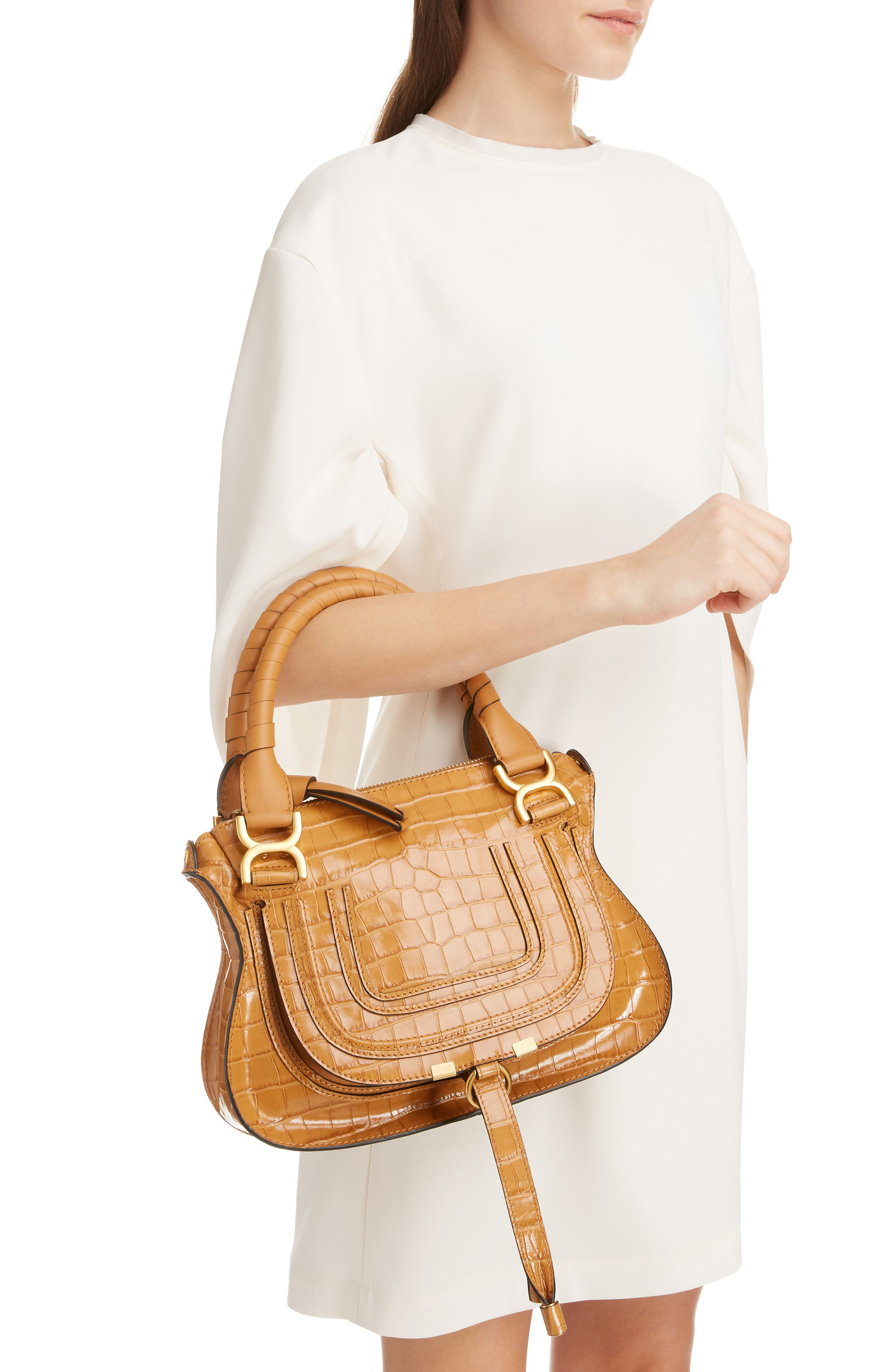 Small Marcie Croc Embossed Leather Satchel,                             Alternate thumbnail 2, color,                             AUTUMNAL BROWN