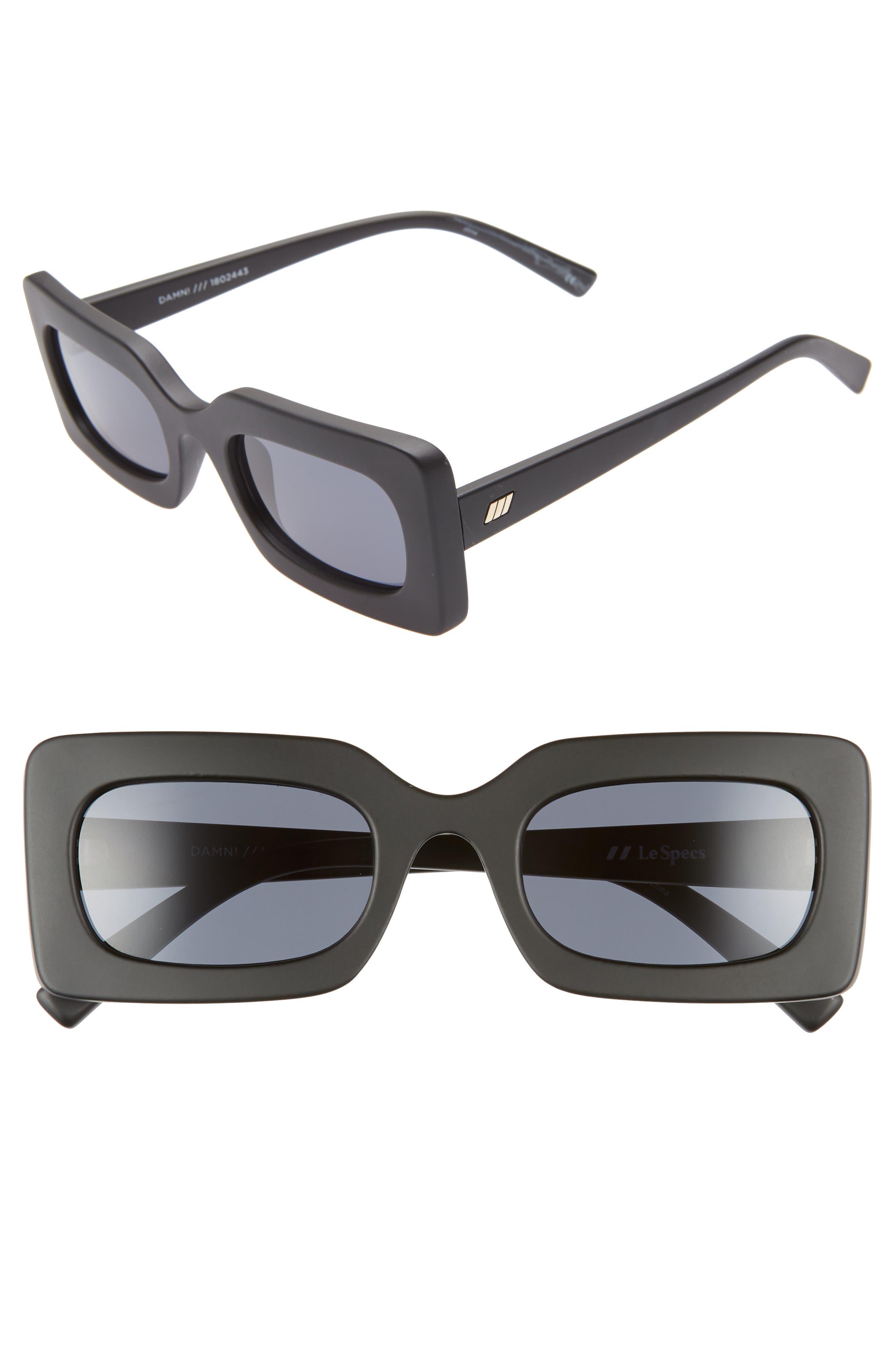 Le Specs 50Mm Rectangle Sunglasses - Matte Black