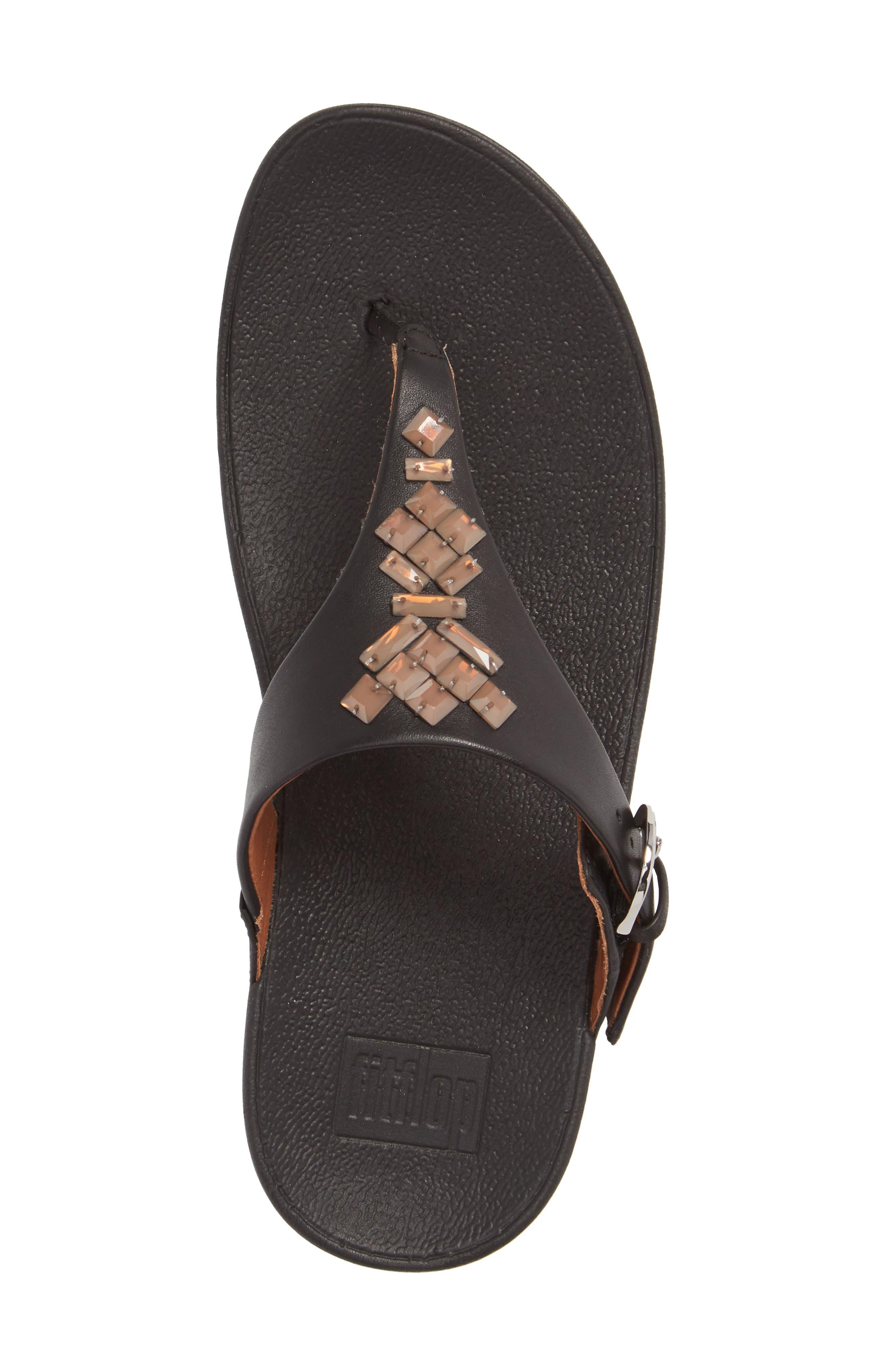 The Skinny Embellished V-Strap Thong Sandal,                             Alternate thumbnail 5, color,                             001