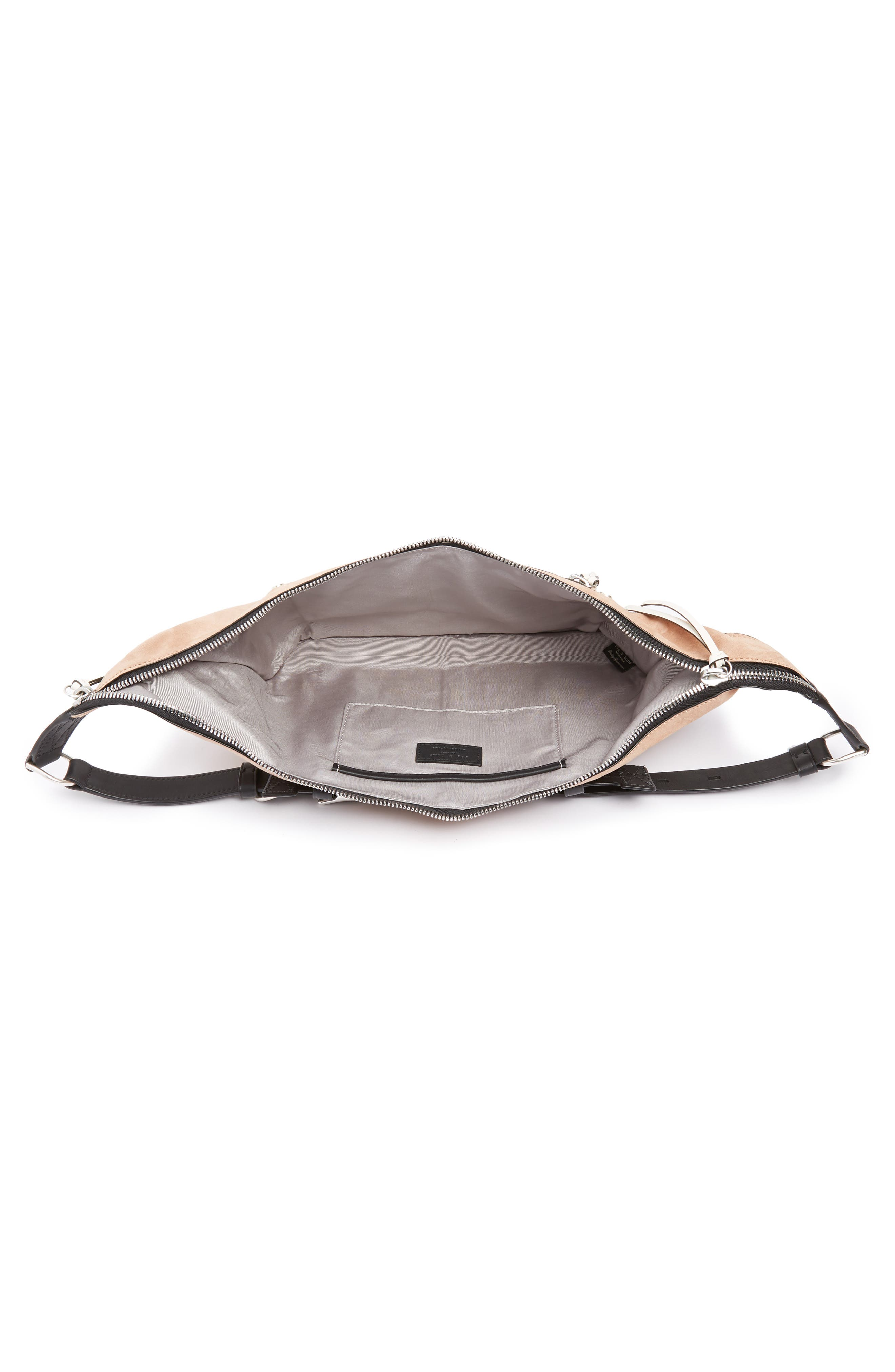 Elliot Leather Fanny Pack,                             Alternate thumbnail 5, color,                             NUDE SUEDE