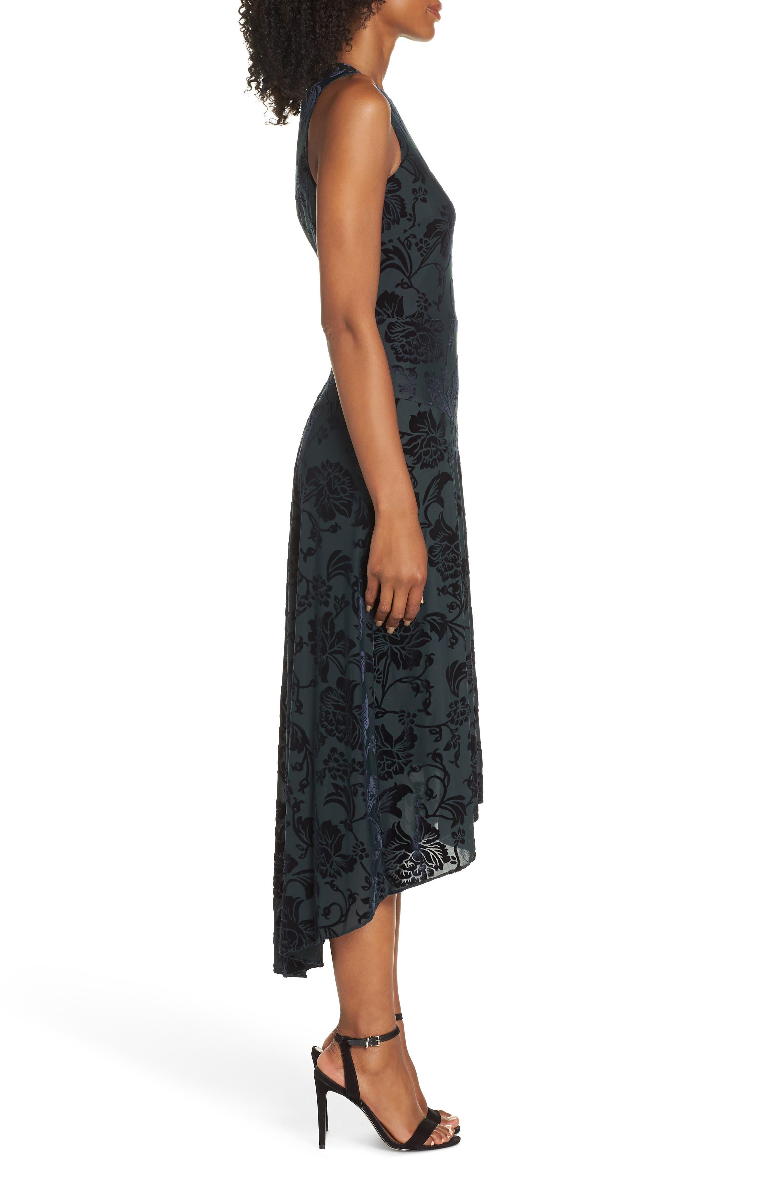 Burnout Velvet High/Low Dress,                             Alternate thumbnail 3, color,                             NAVY/ GREEN