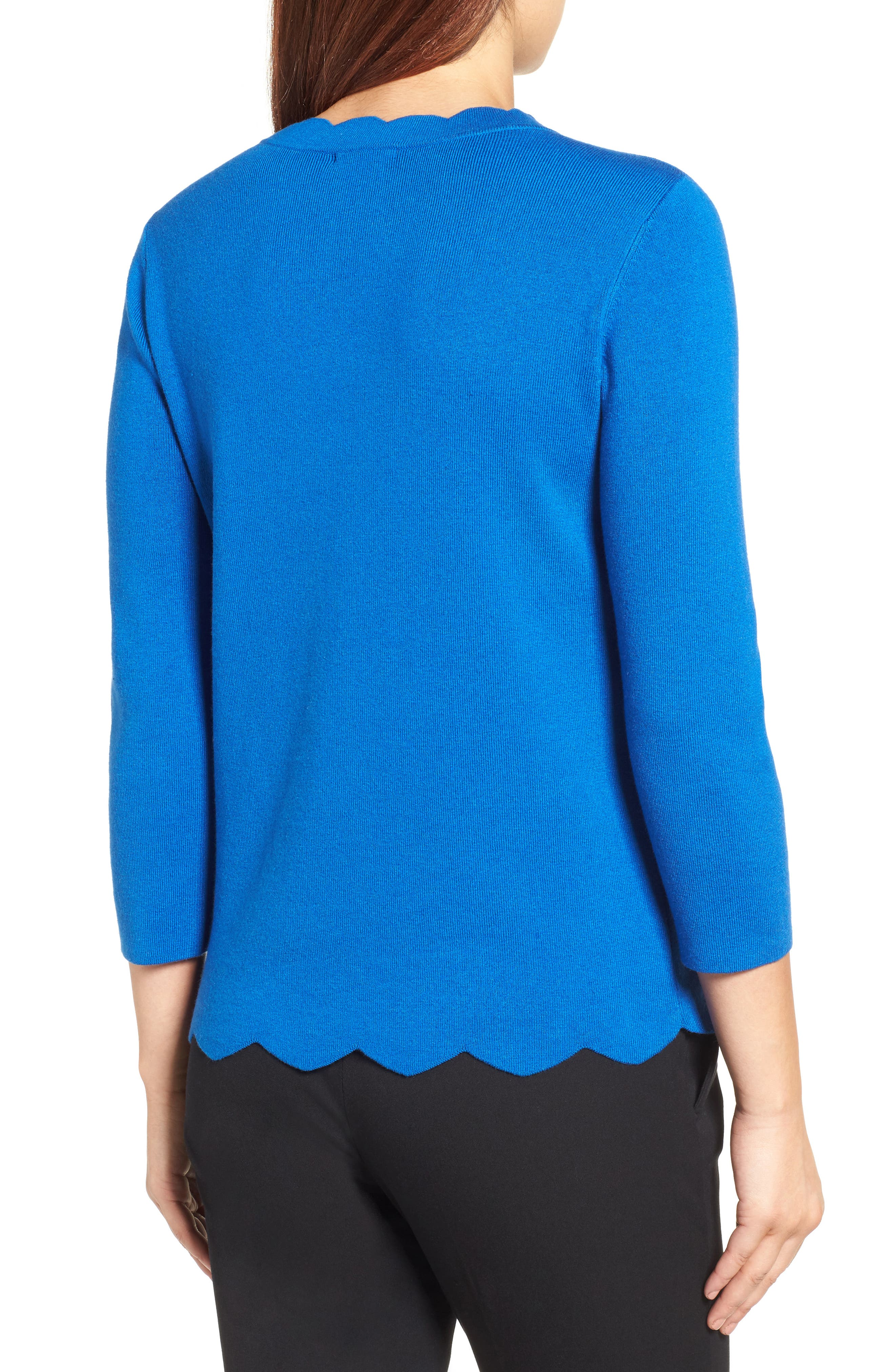 Halogen Scallop Edge Sweater,                             Alternate thumbnail 18, color,
