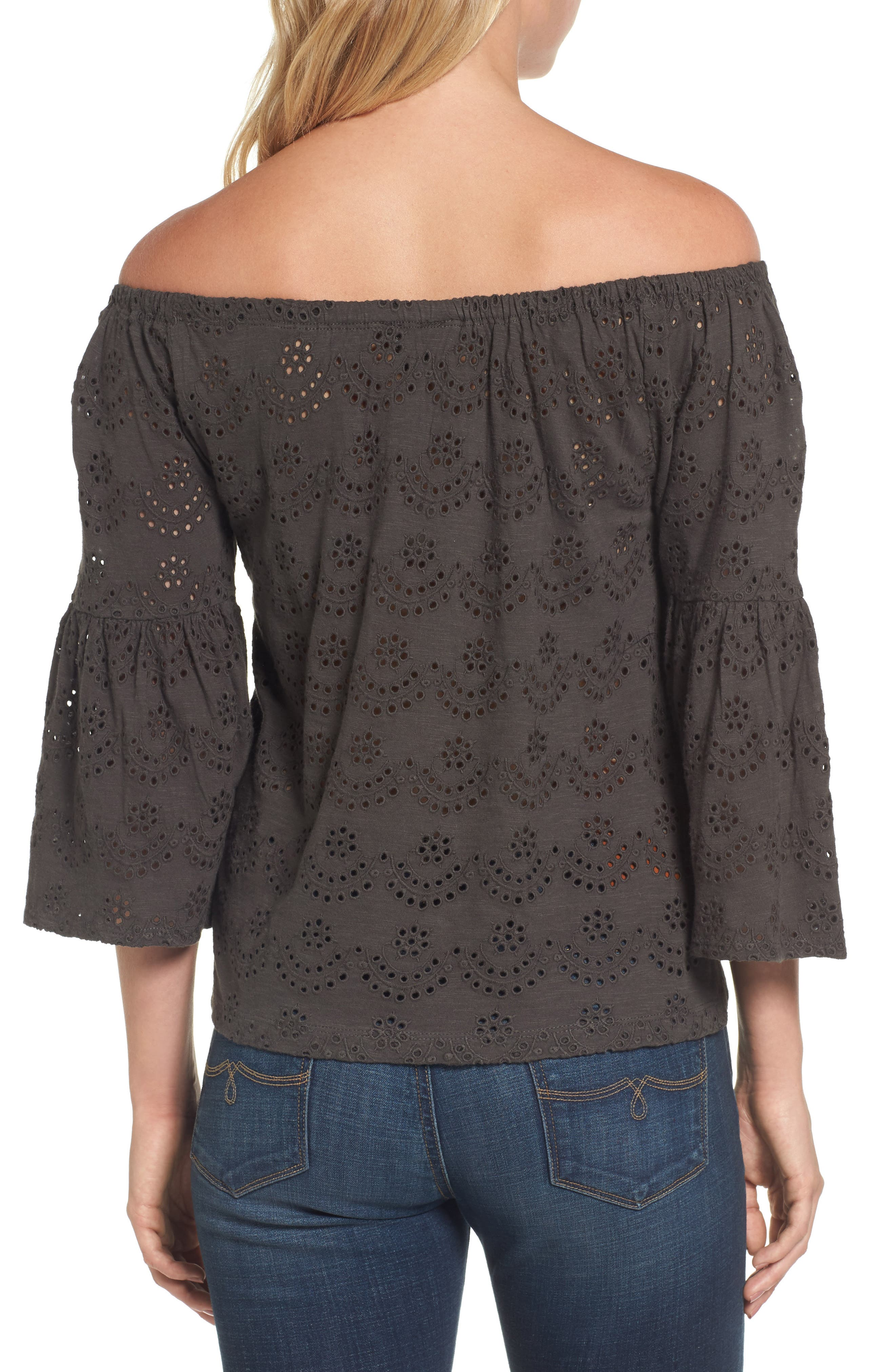 Eyelet Off the Shoulder Blouse,                             Alternate thumbnail 2, color,                             002