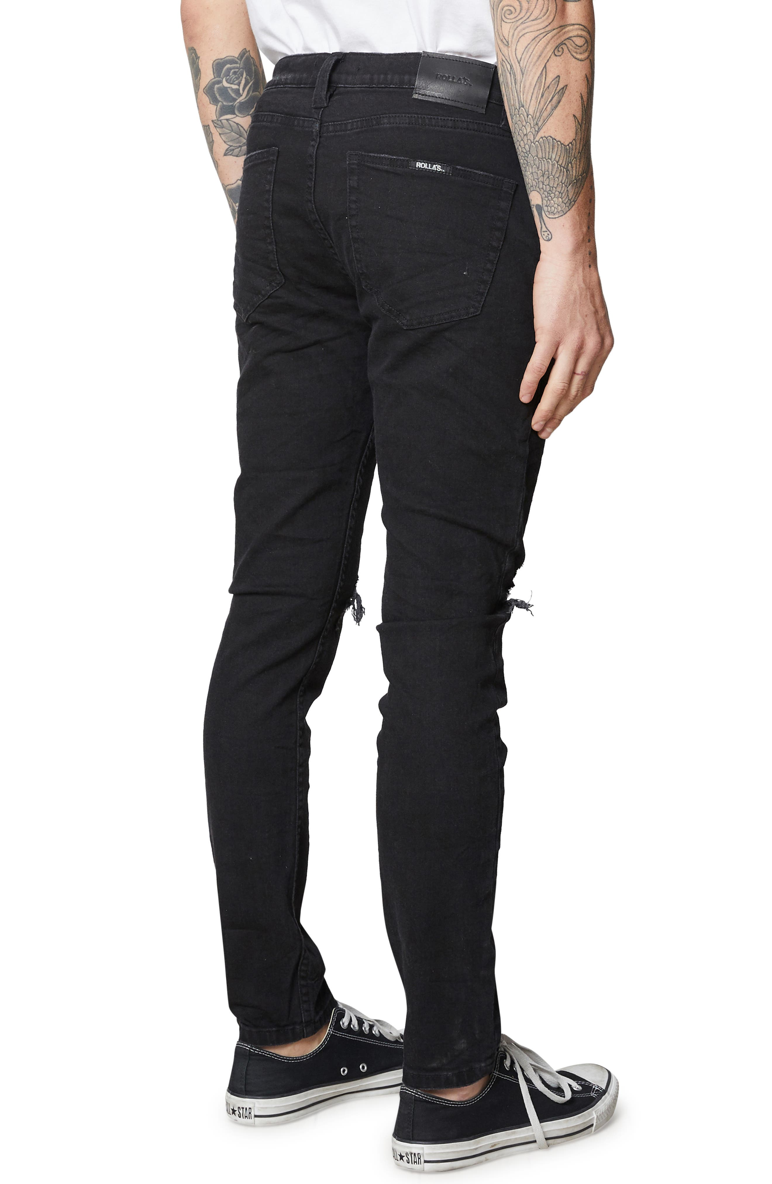 Stinger Skinny Fit Jeans,                             Alternate thumbnail 4, color,                             BLACK RIP