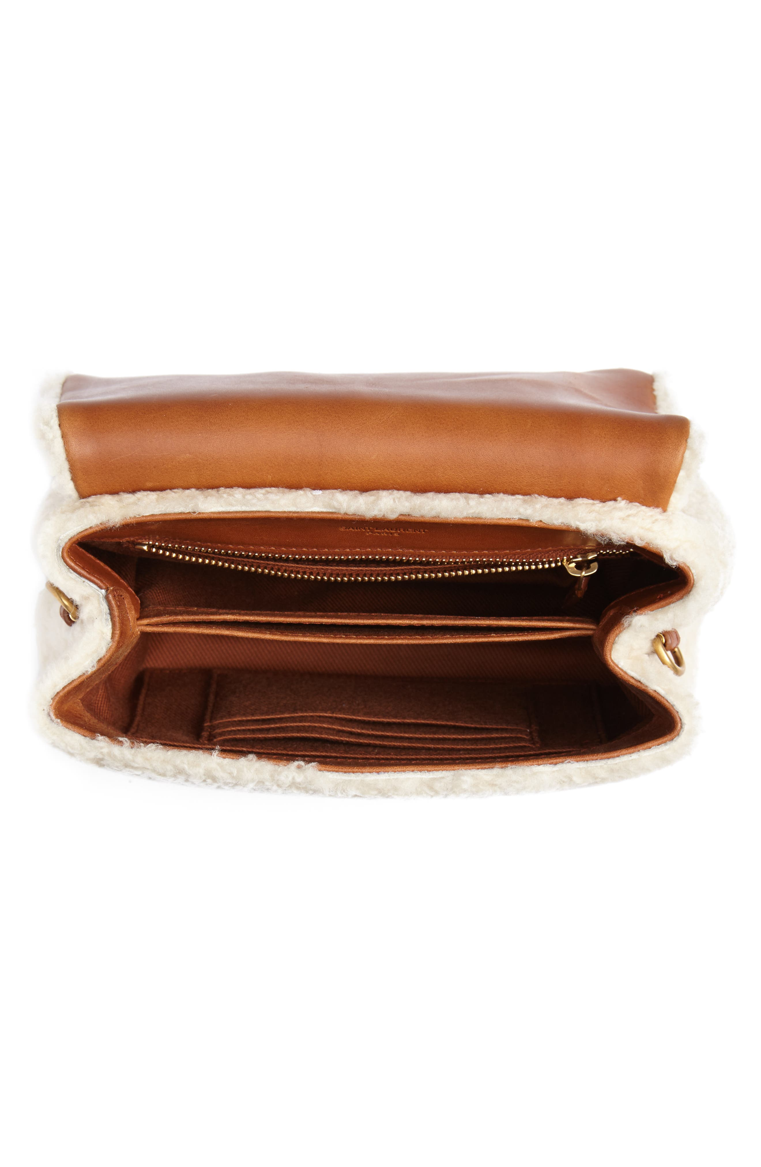Small Loulou Genuine Shearling Crossbody Bag,                             Alternate thumbnail 4, color,                             NATURALE/ DEEP CUOIO