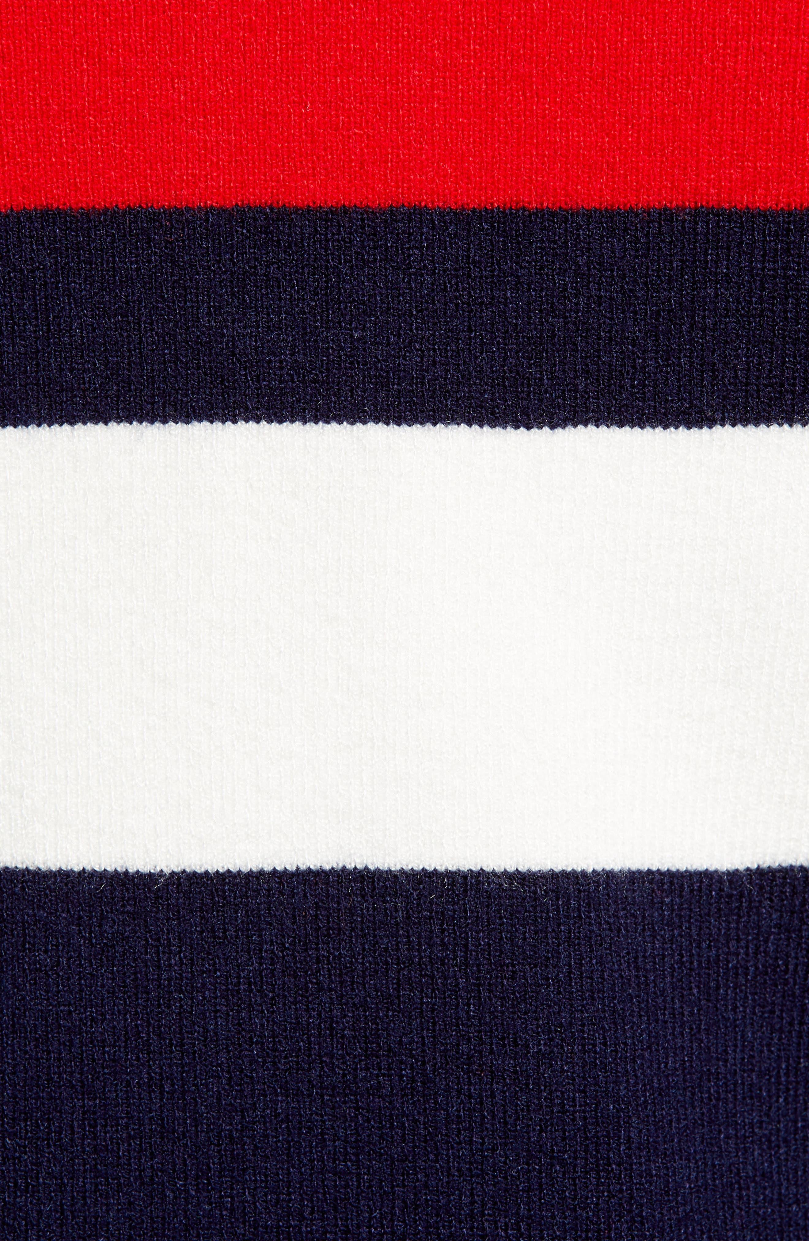 Stripe Half Zip Pullover,                             Alternate thumbnail 5, color,                             NAVY