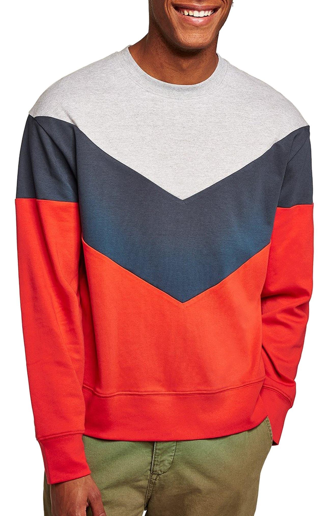Chevron Colorblock Sweatshirt,                         Main,                         color, RED MULTI