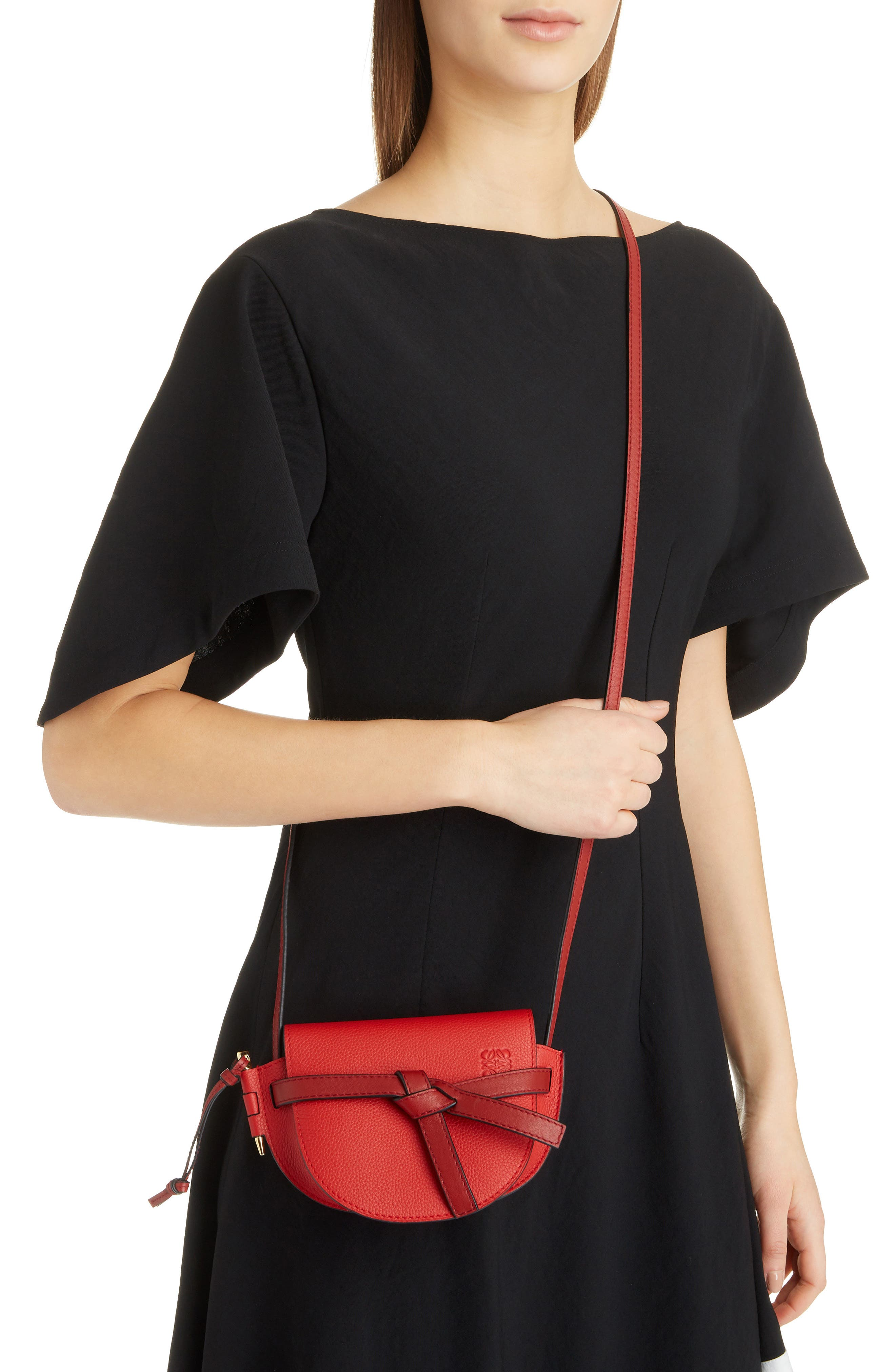 Small Gate Leather Crossbody Bag,                             Alternate thumbnail 2, color,                             SCARLET RED/ BURNT RED