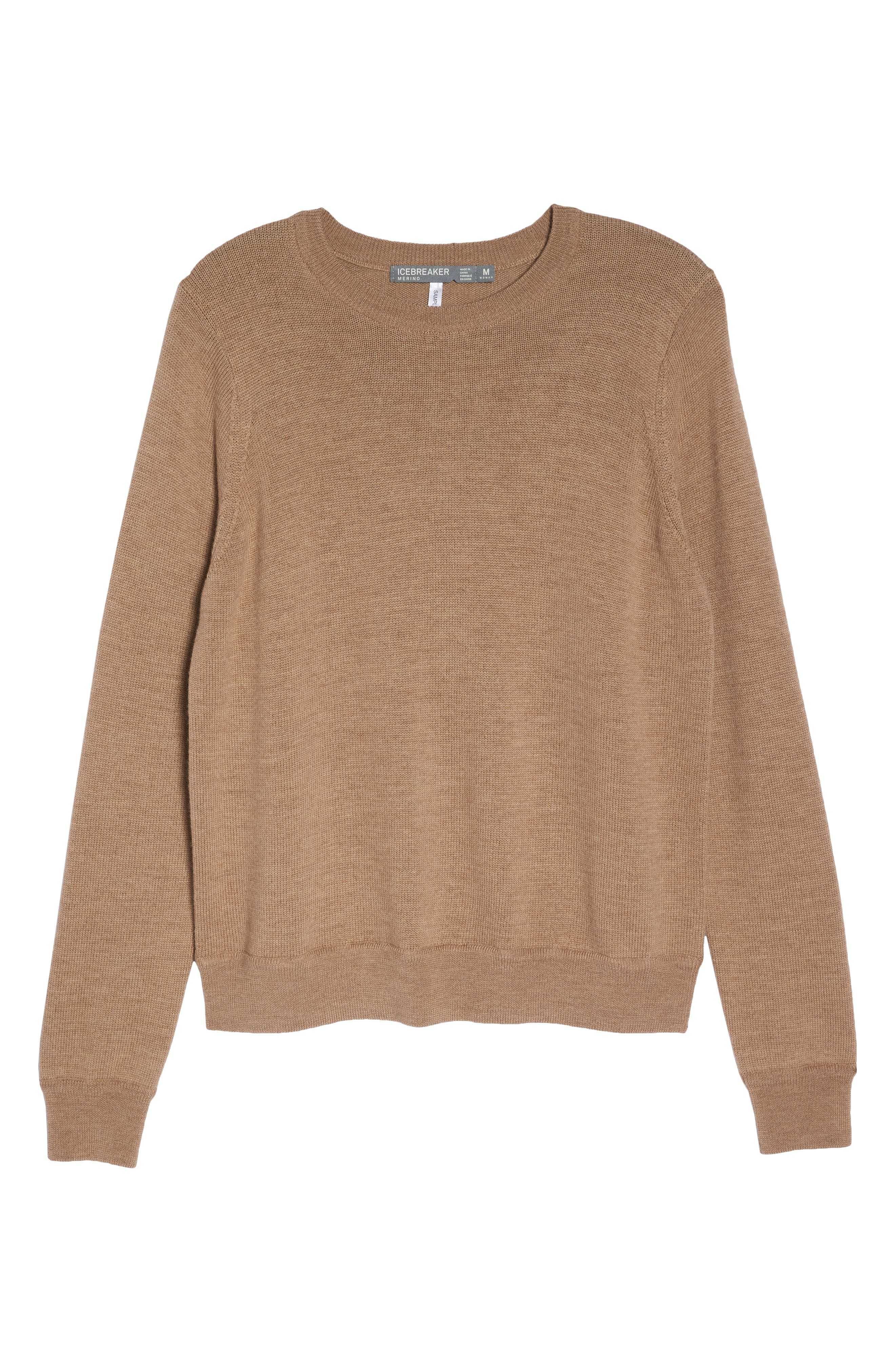 Muster Merino Wool Sweater,                             Alternate thumbnail 7, color,                             CAMEL HEATHER