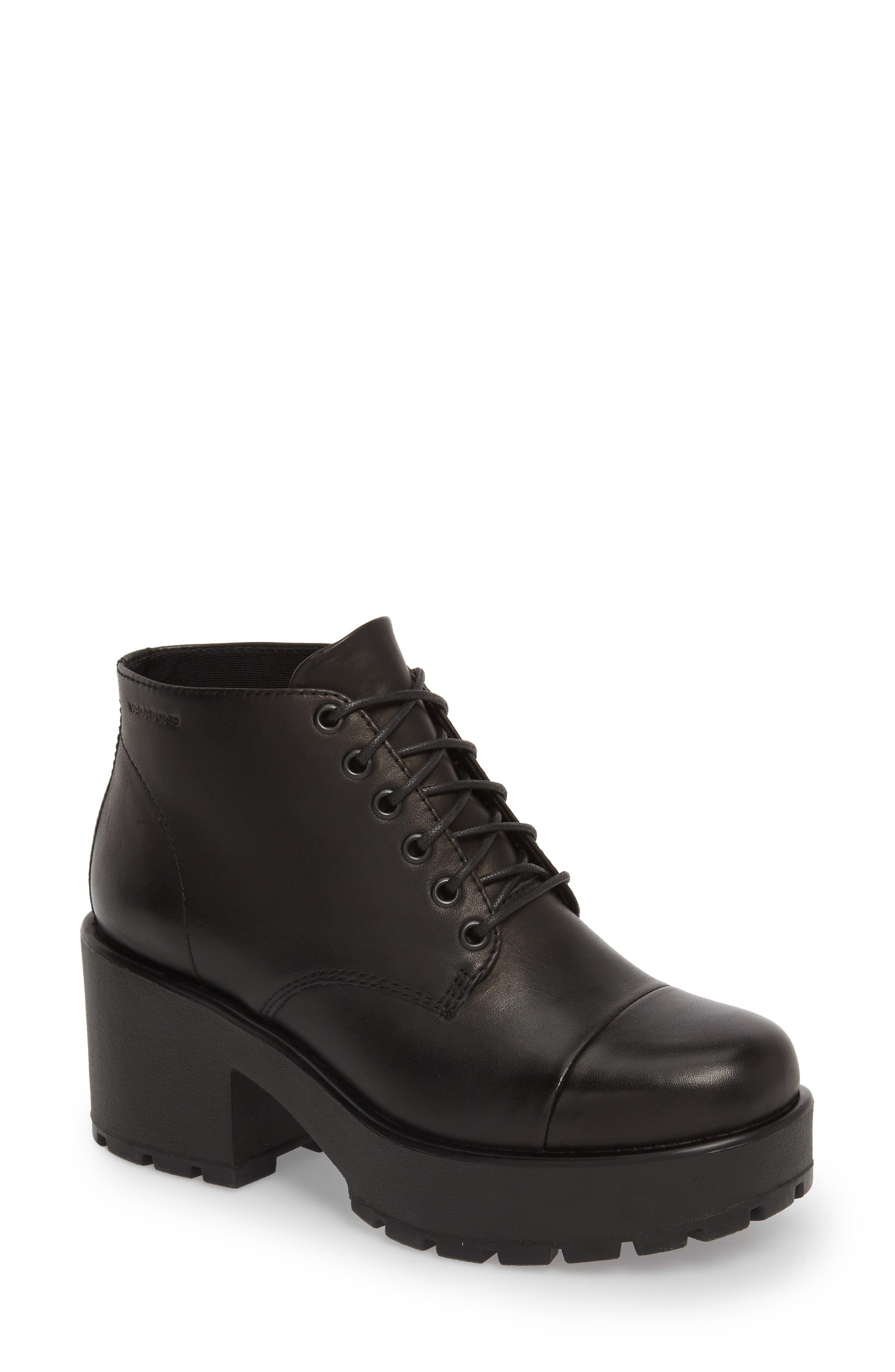 VAGABOND,                             Shoemakers Dioon Cap Toe Bootie,                             Main thumbnail 1, color,                             BLACK LEATHER