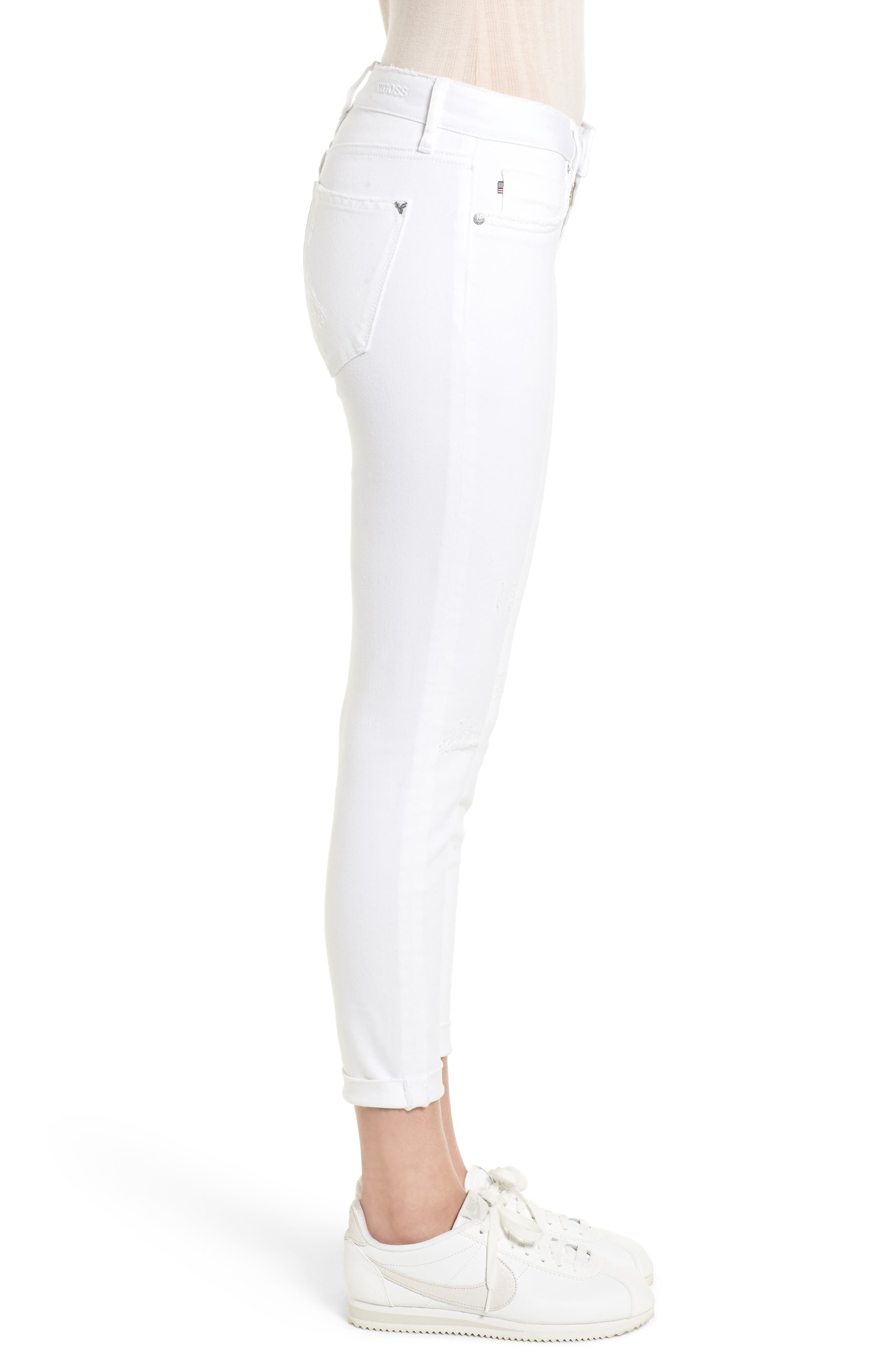 Thompson Tomboy Distressed Cuffed Crop Skinny Jeans,                             Alternate thumbnail 3, color,