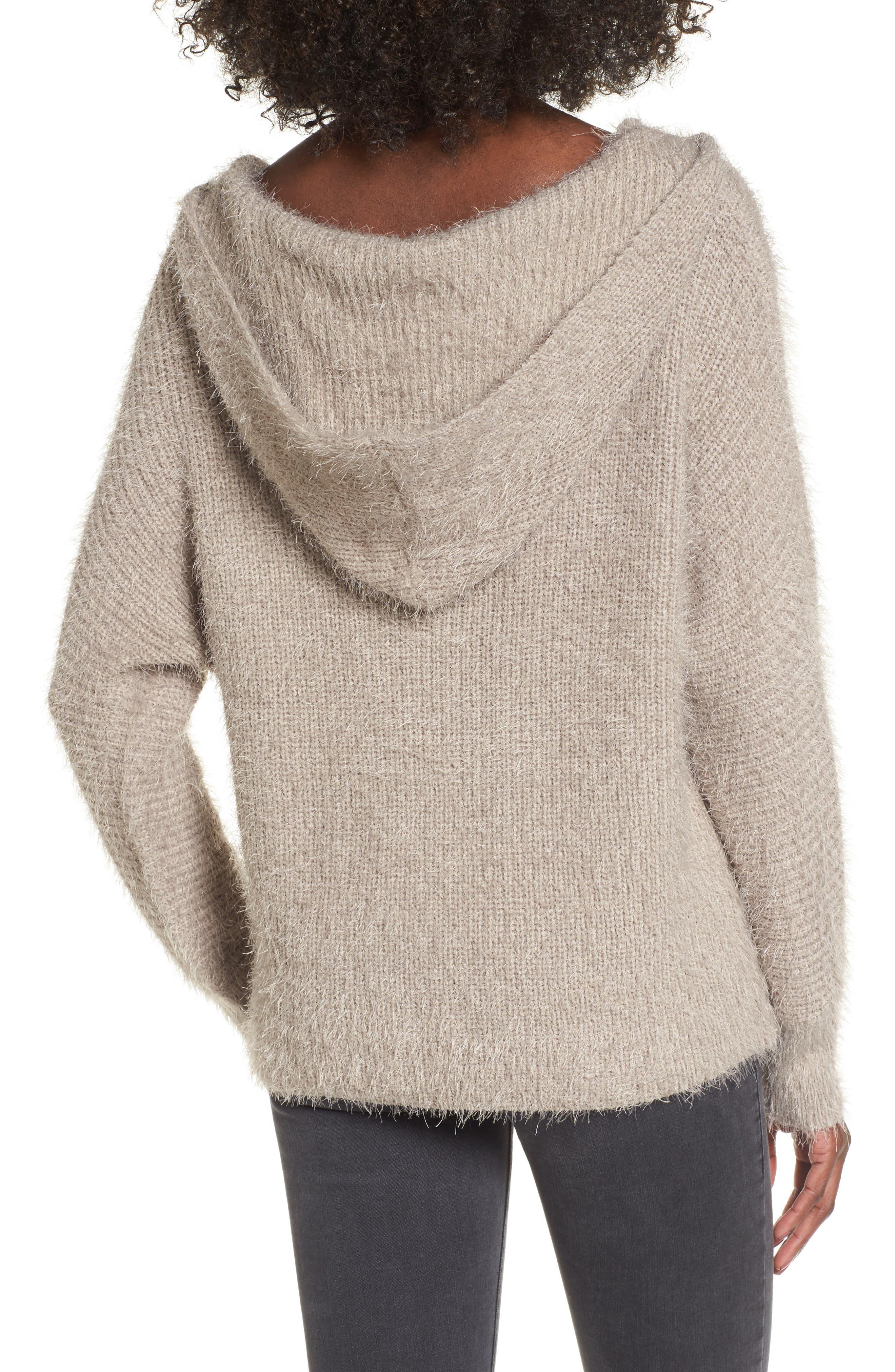 Eyelash Knit Hooded Sweater,                             Alternate thumbnail 2, color,
