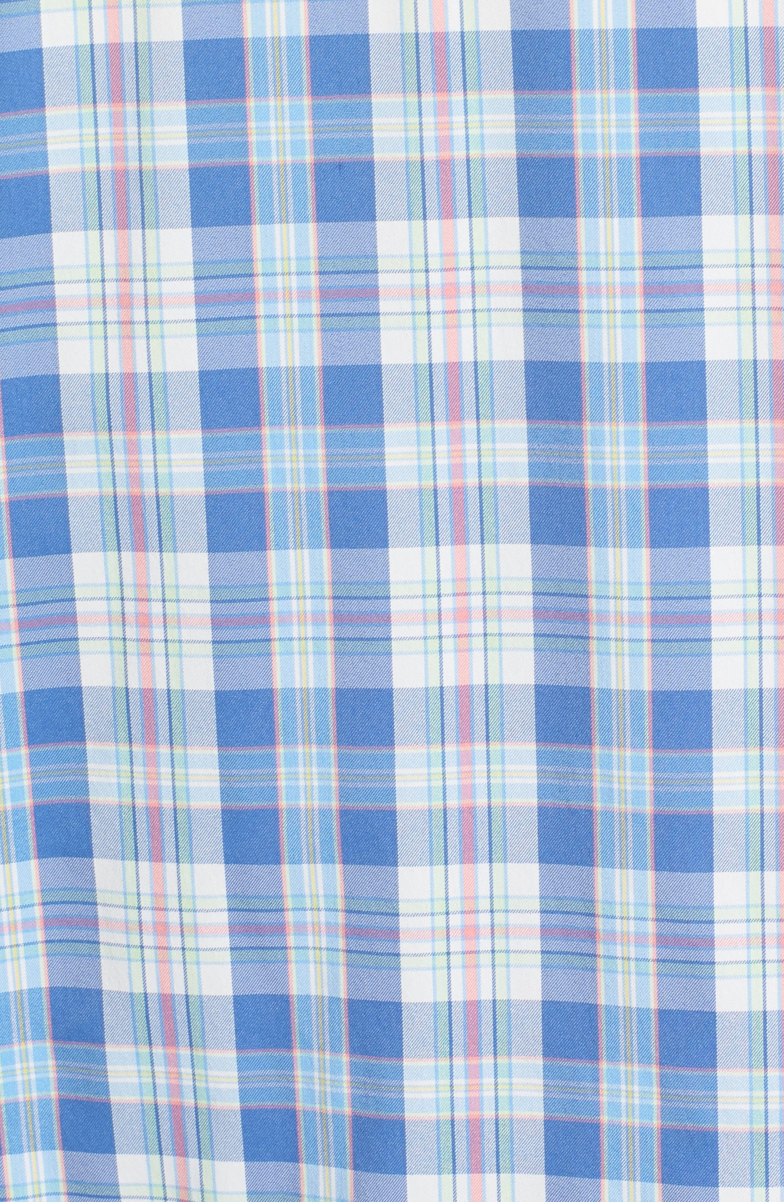 Great Harbor Regular Fit Plaid Stretch Sport Shirt,                             Alternate thumbnail 5, color,                             466