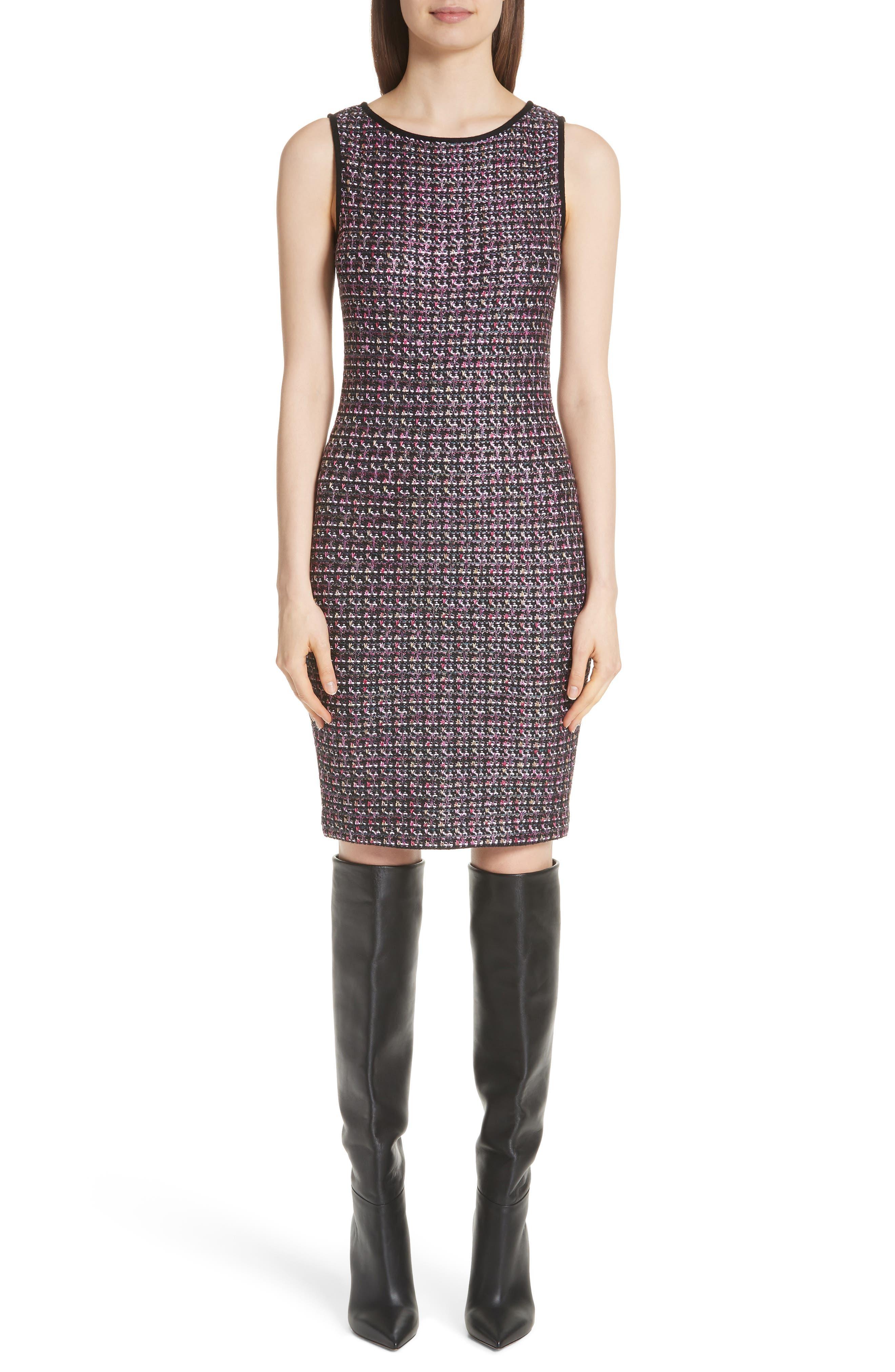 Painterly Sheen Tweed Knit Dress,                             Main thumbnail 1, color,                             GRANITE MULTI