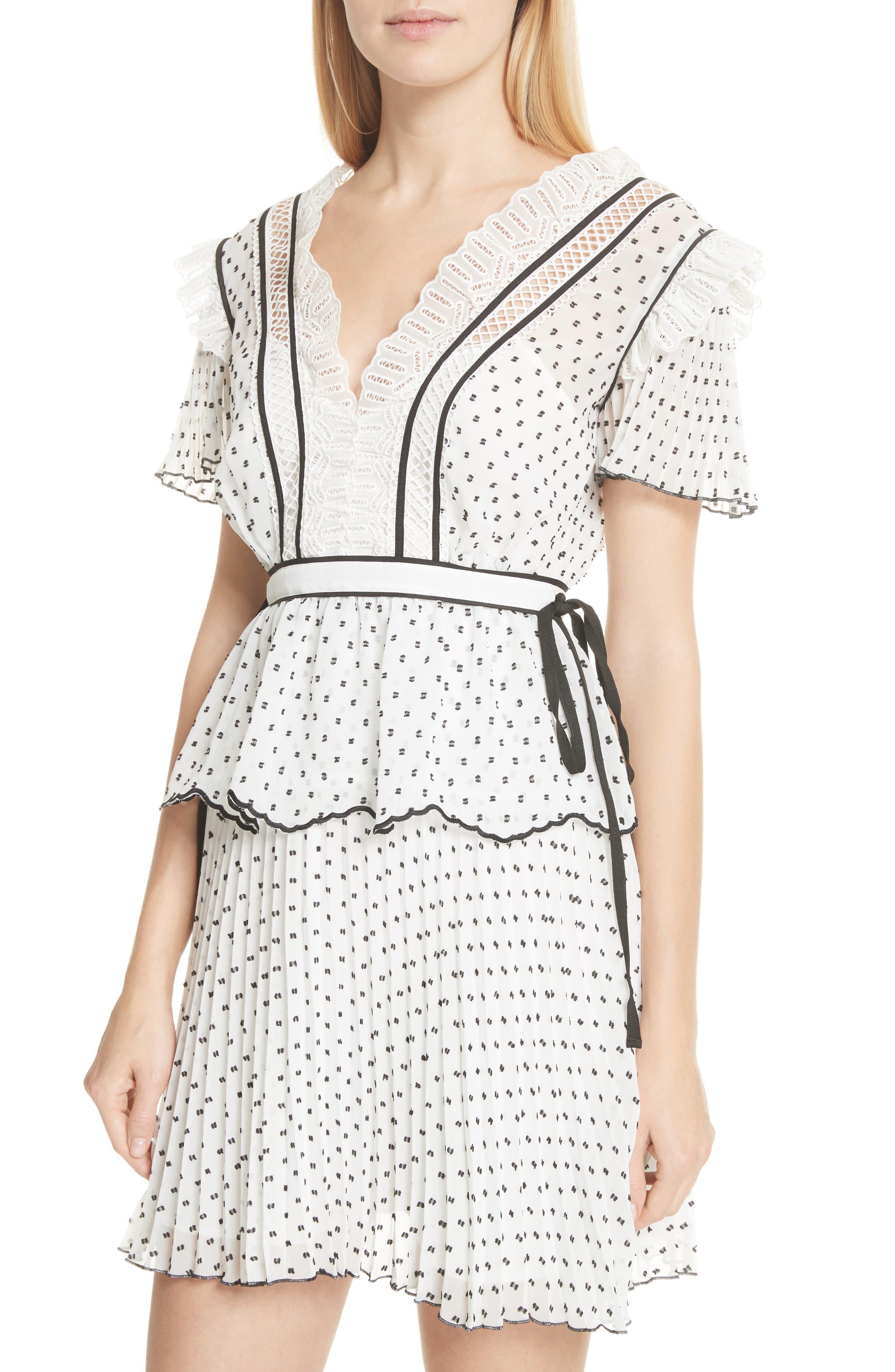 Pleated Plumetis Dress,                             Alternate thumbnail 4, color,                             100
