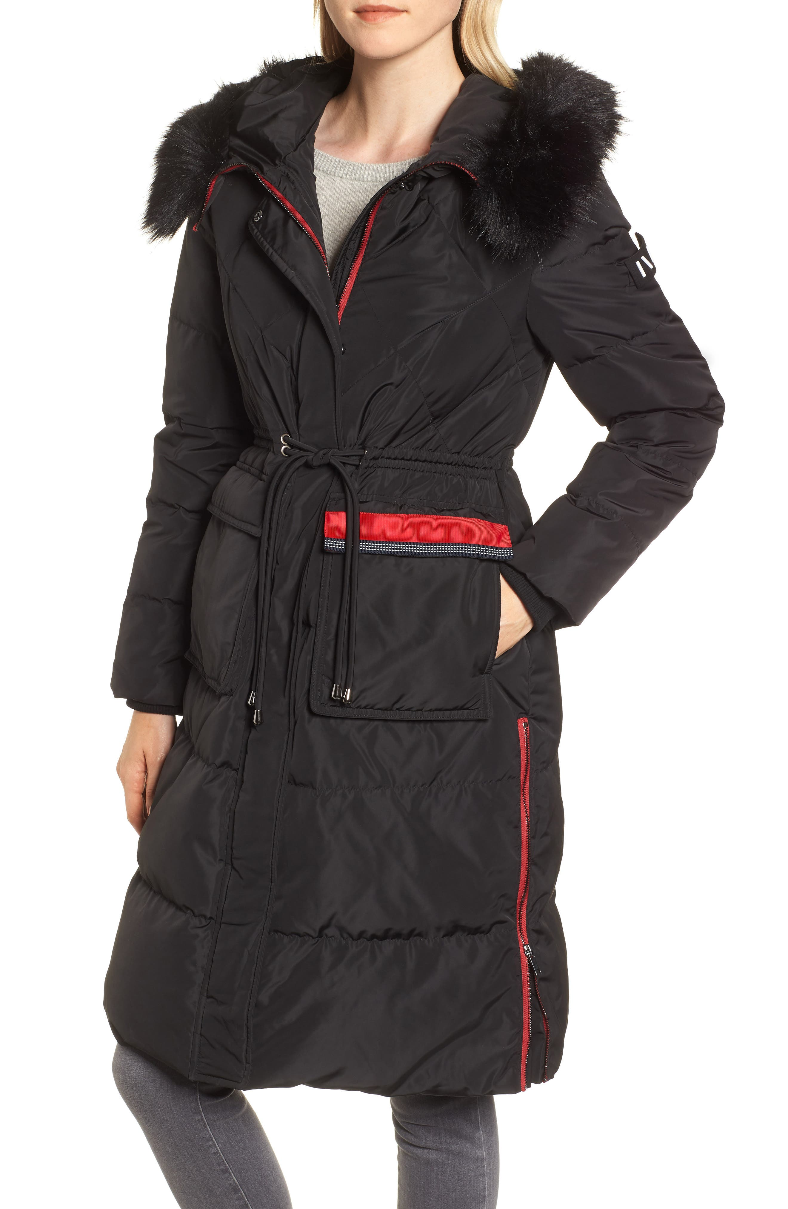 Nvlt Down Faux Fur Trim Jacket, Black